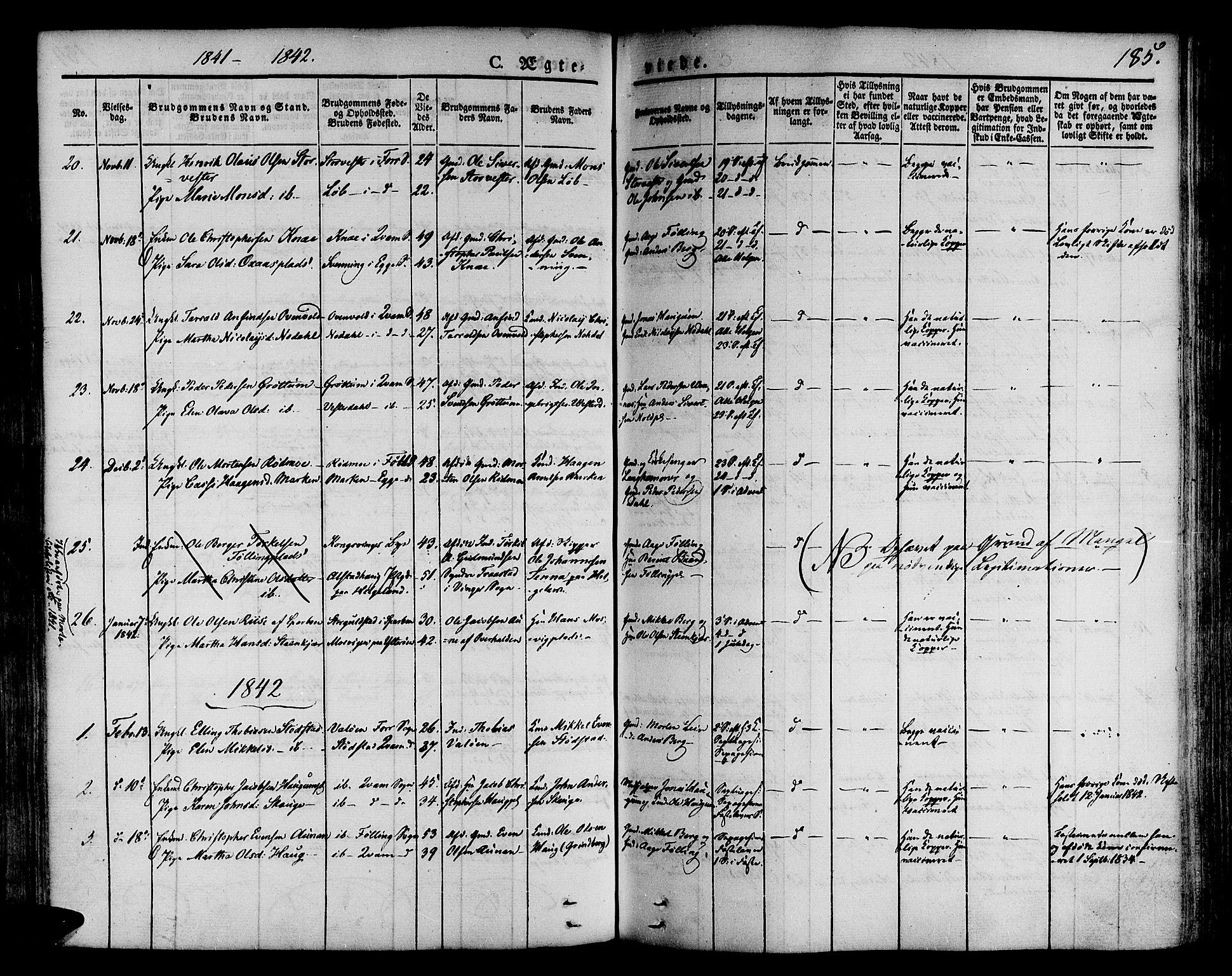 SAT, Ministerialprotokoller, klokkerbøker og fødselsregistre - Nord-Trøndelag, 746/L0445: Ministerialbok nr. 746A04, 1826-1846, s. 185