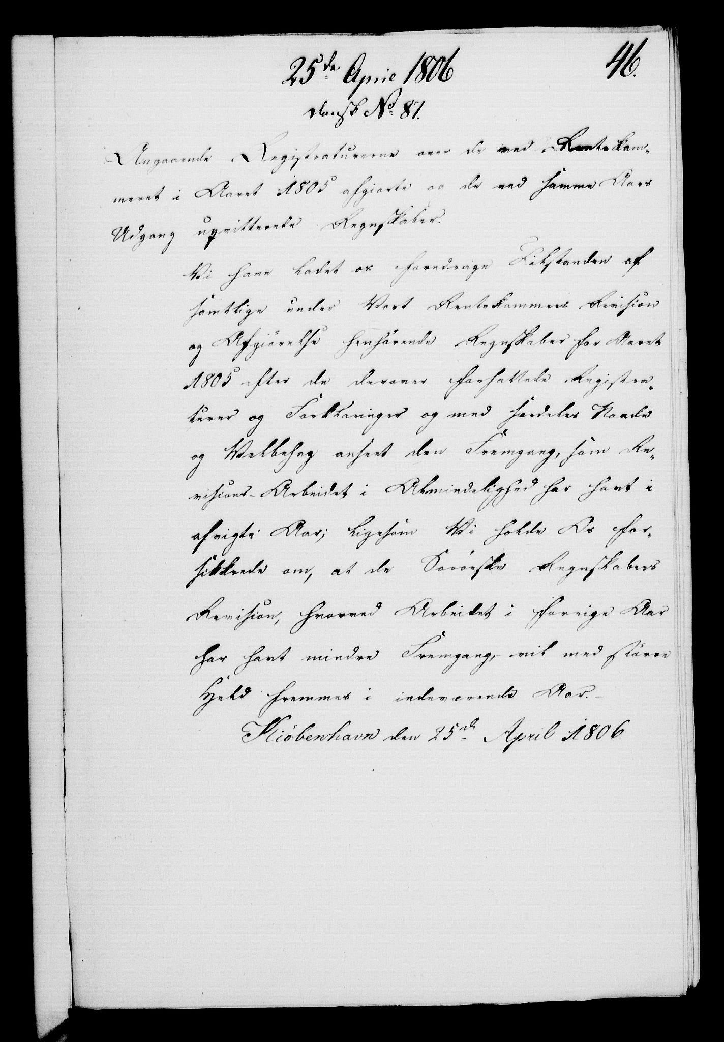 RA, Rentekammeret, Kammerkanselliet, G/Gf/Gfa/L0088: Norsk relasjons- og resolusjonsprotokoll (merket RK 52.88), 1806, s. 283
