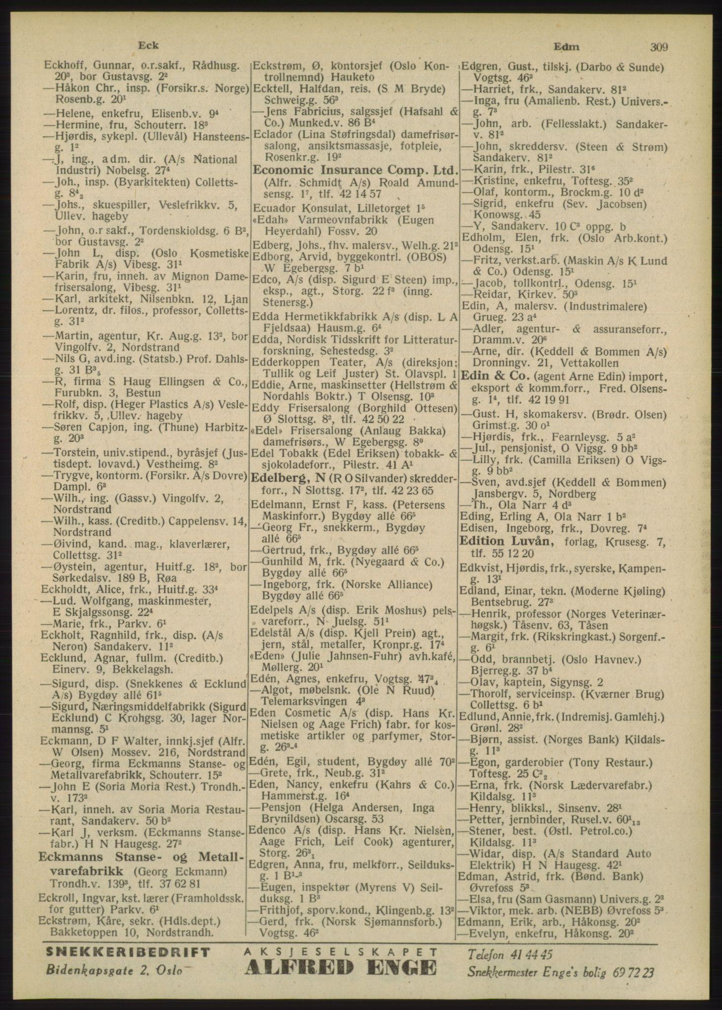PUBL, Kristiania/Oslo adressebok, 1948, s. 309