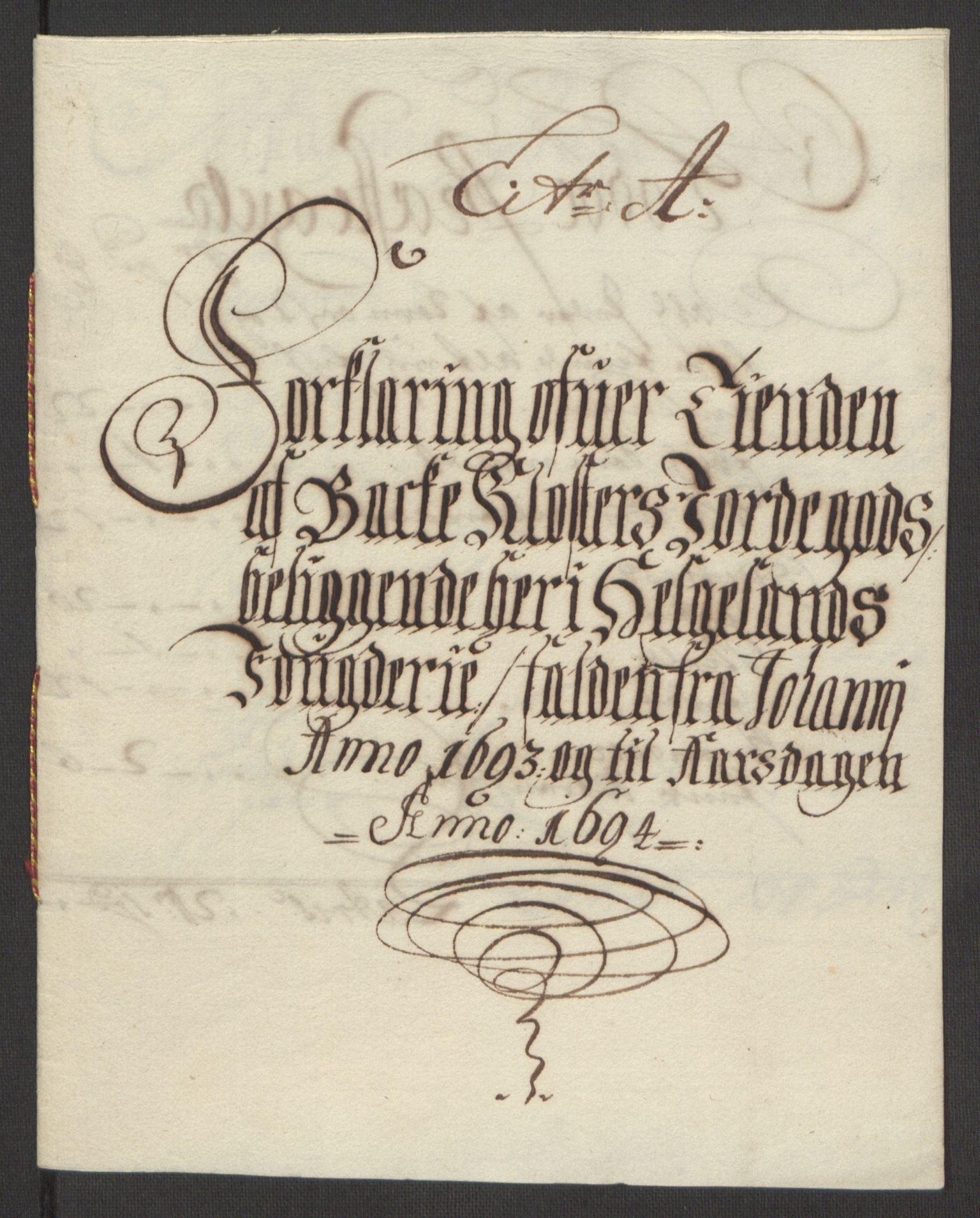 RA, Rentekammeret inntil 1814, Reviderte regnskaper, Fogderegnskap, R65/L4505: Fogderegnskap Helgeland, 1693-1696, s. 158