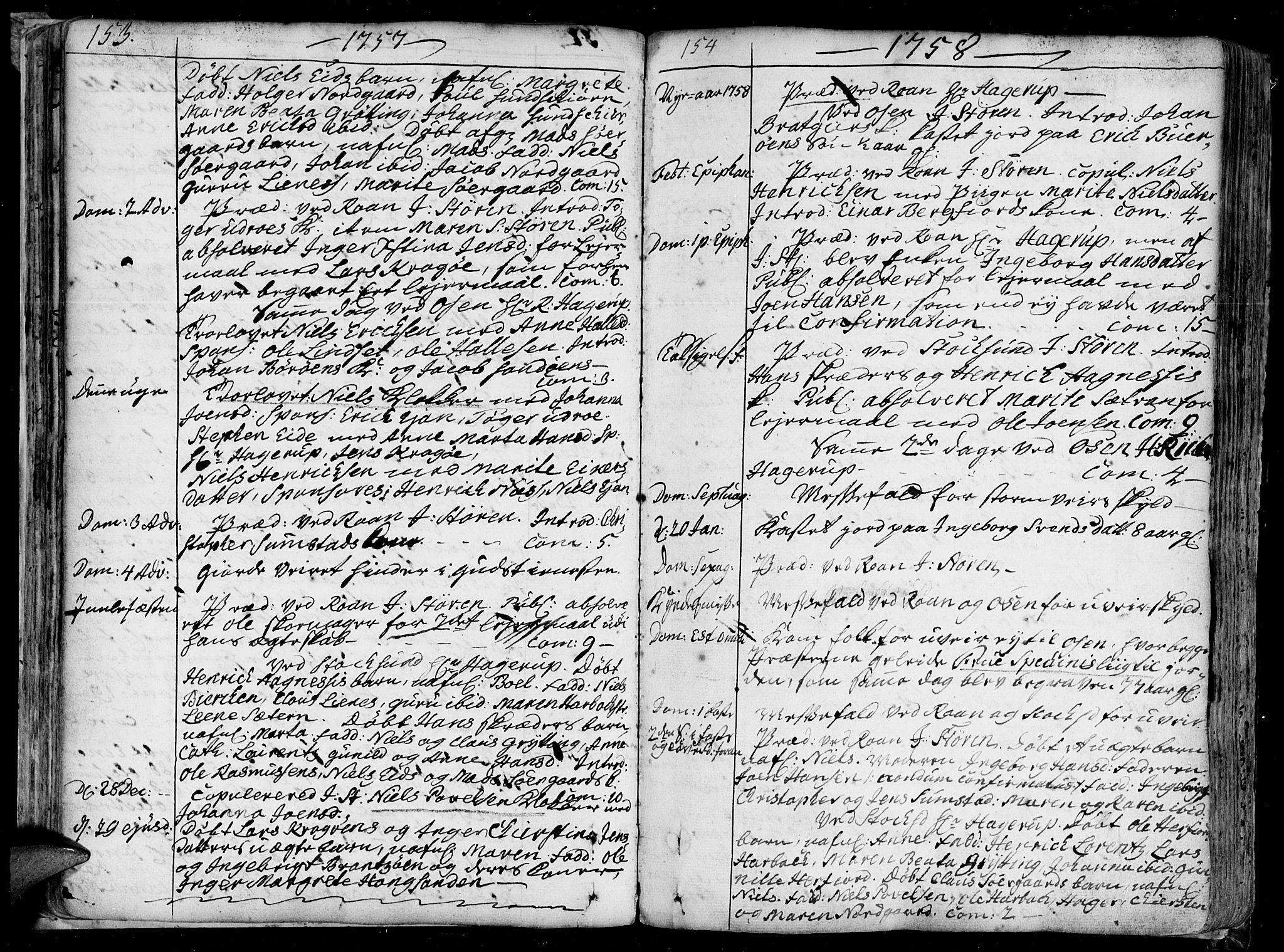 SAT, Ministerialprotokoller, klokkerbøker og fødselsregistre - Sør-Trøndelag, 657/L0700: Ministerialbok nr. 657A01, 1732-1801, s. 153-154