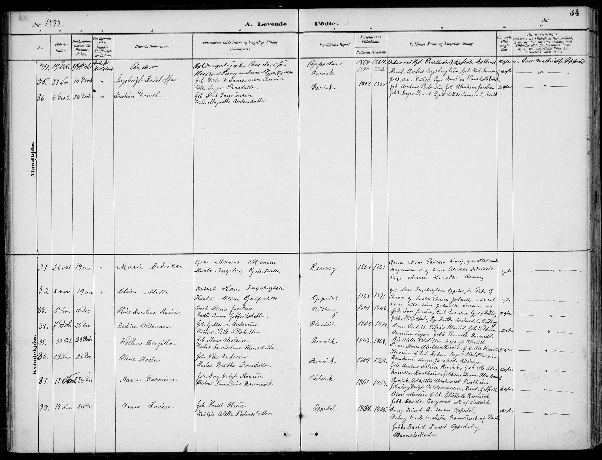 SAB, Selje sokneprestembete*, Ministerialbok nr. C  2, 1889-1904, s. 34