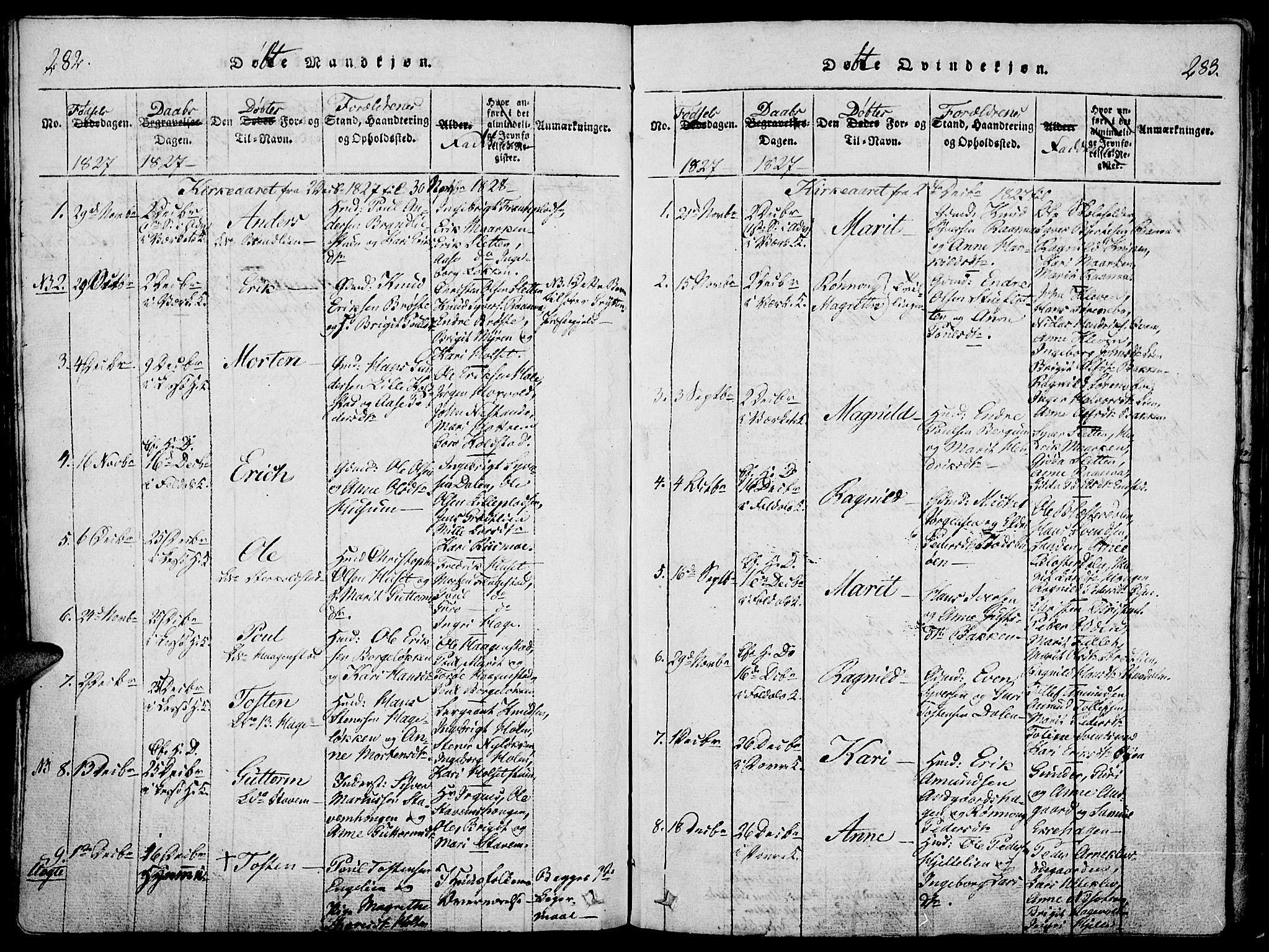 SAH, Lesja prestekontor, Ministerialbok nr. 4, 1820-1829, s. 282-283