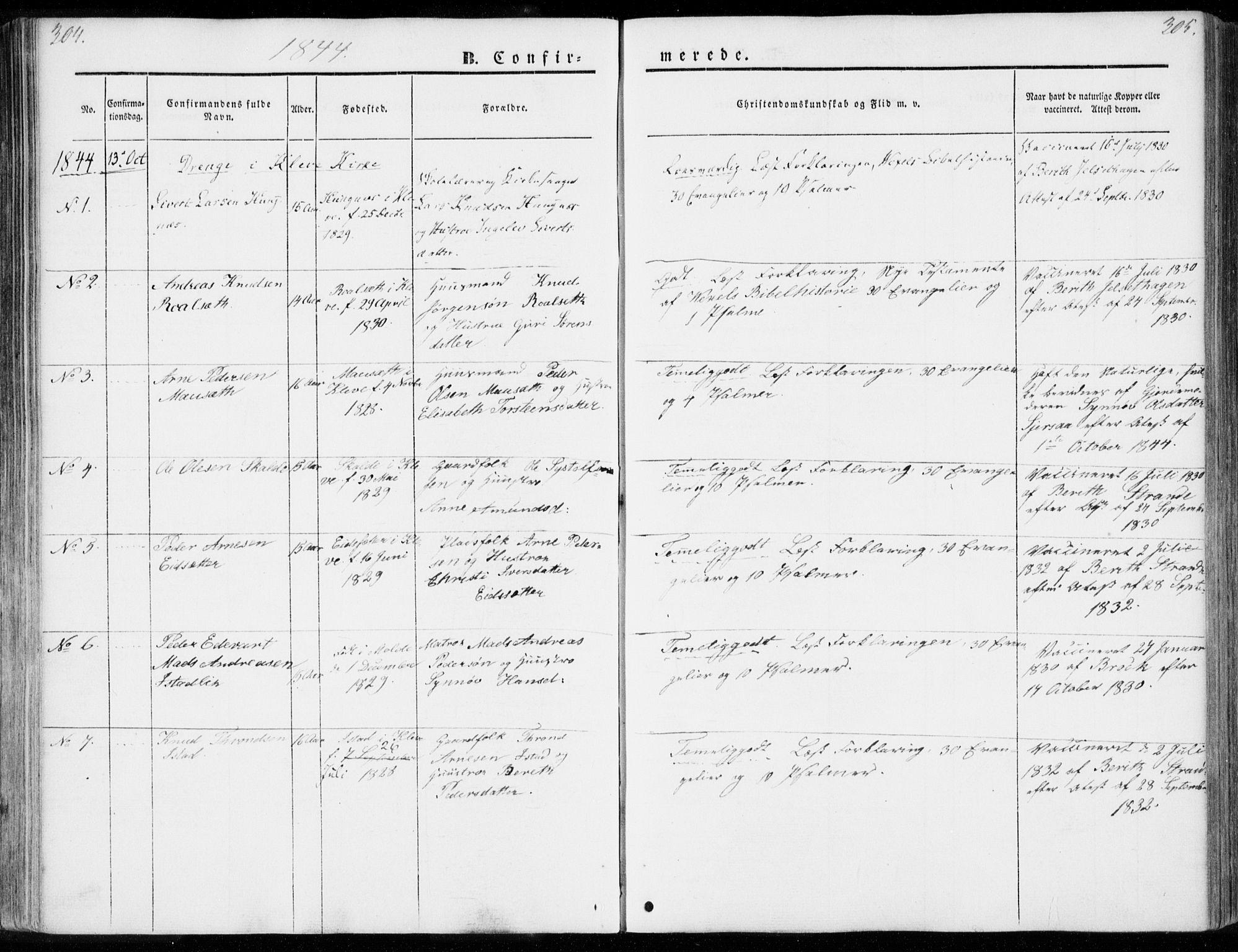 SAT, Ministerialprotokoller, klokkerbøker og fødselsregistre - Møre og Romsdal, 557/L0680: Ministerialbok nr. 557A02, 1843-1869, s. 304-305
