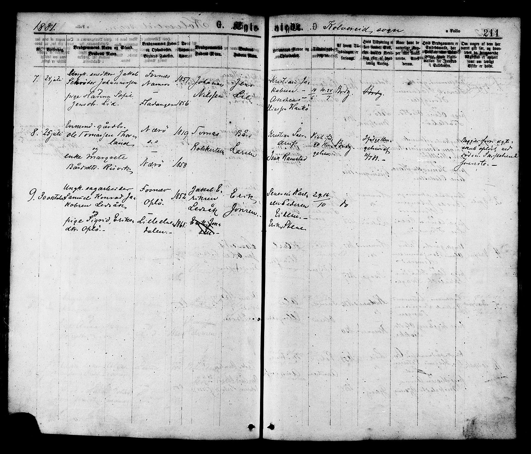 SAT, Ministerialprotokoller, klokkerbøker og fødselsregistre - Nord-Trøndelag, 780/L0642: Ministerialbok nr. 780A07 /1, 1874-1885, s. 211