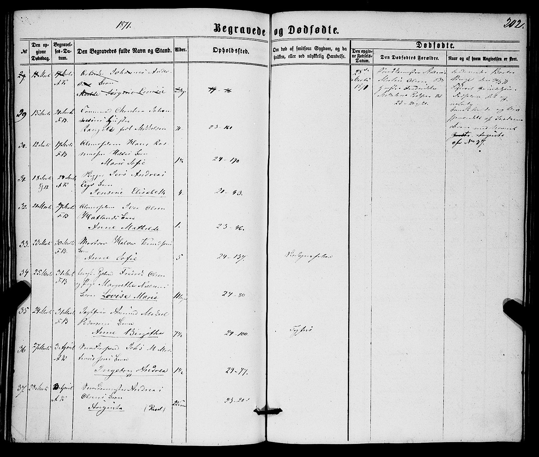 SAB, Korskirken Sokneprestembete, H/Haa/L0045: Ministerialbok nr. E 3, 1863-1875, s. 202