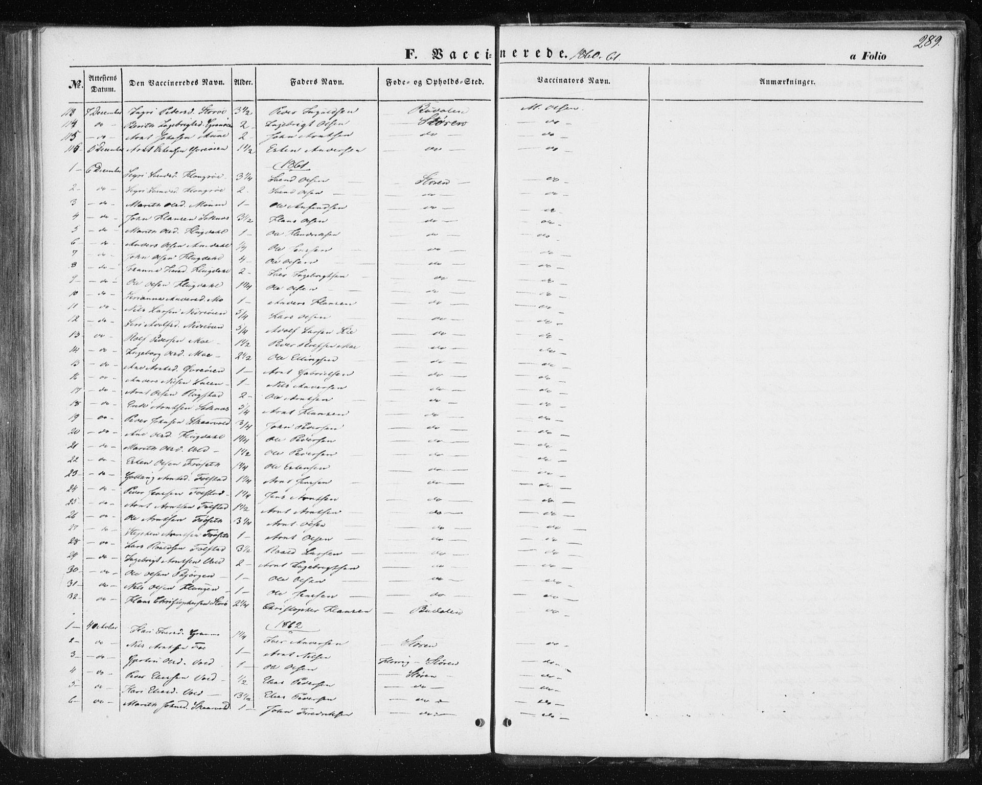 SAT, Ministerialprotokoller, klokkerbøker og fødselsregistre - Sør-Trøndelag, 687/L1000: Ministerialbok nr. 687A06, 1848-1869, s. 289