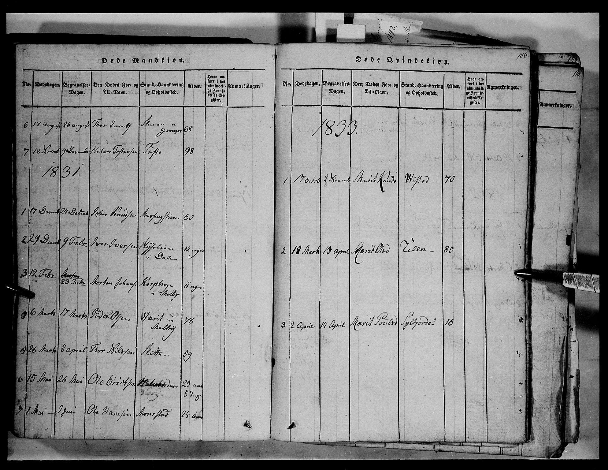 SAH, Fron prestekontor, H/Ha/Hab/L0003: Klokkerbok nr. 3, 1816-1850, s. 106