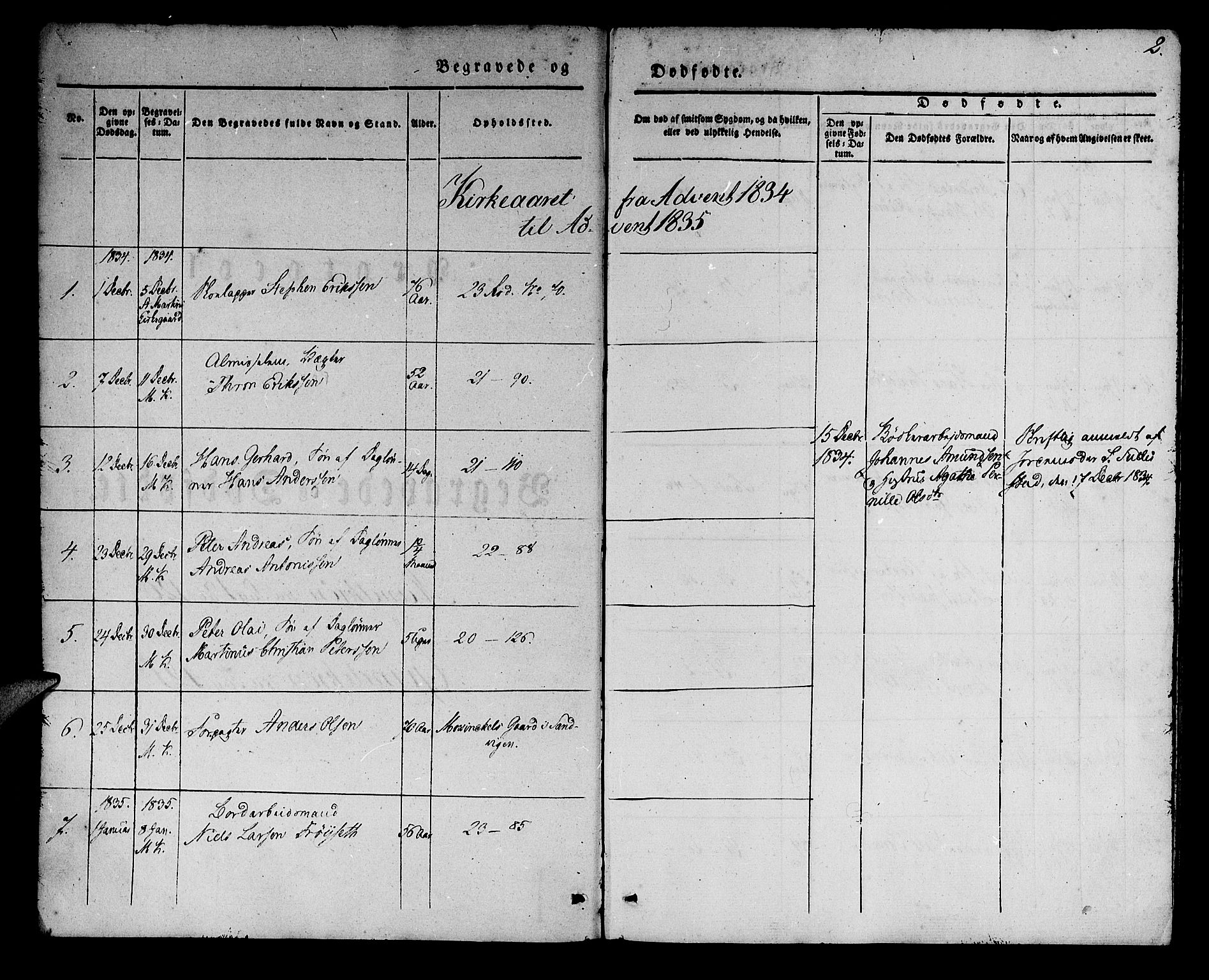 SAB, Korskirken Sokneprestembete, H/Haa/L0043: Ministerialbok nr. E 1, 1834-1848, s. 2