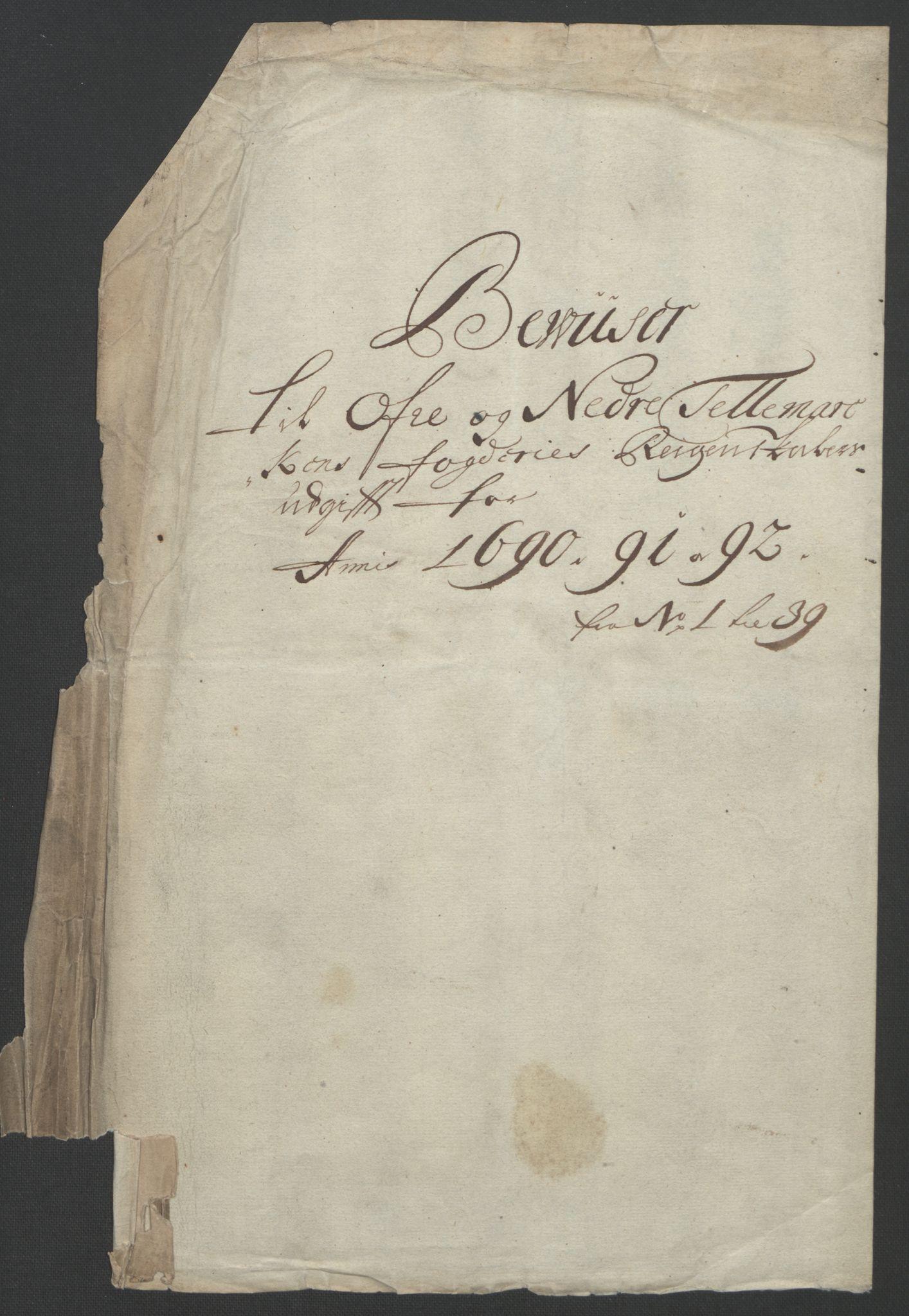 RA, Rentekammeret inntil 1814, Reviderte regnskaper, Fogderegnskap, R35/L2091: Fogderegnskap Øvre og Nedre Telemark, 1690-1693, s. 3
