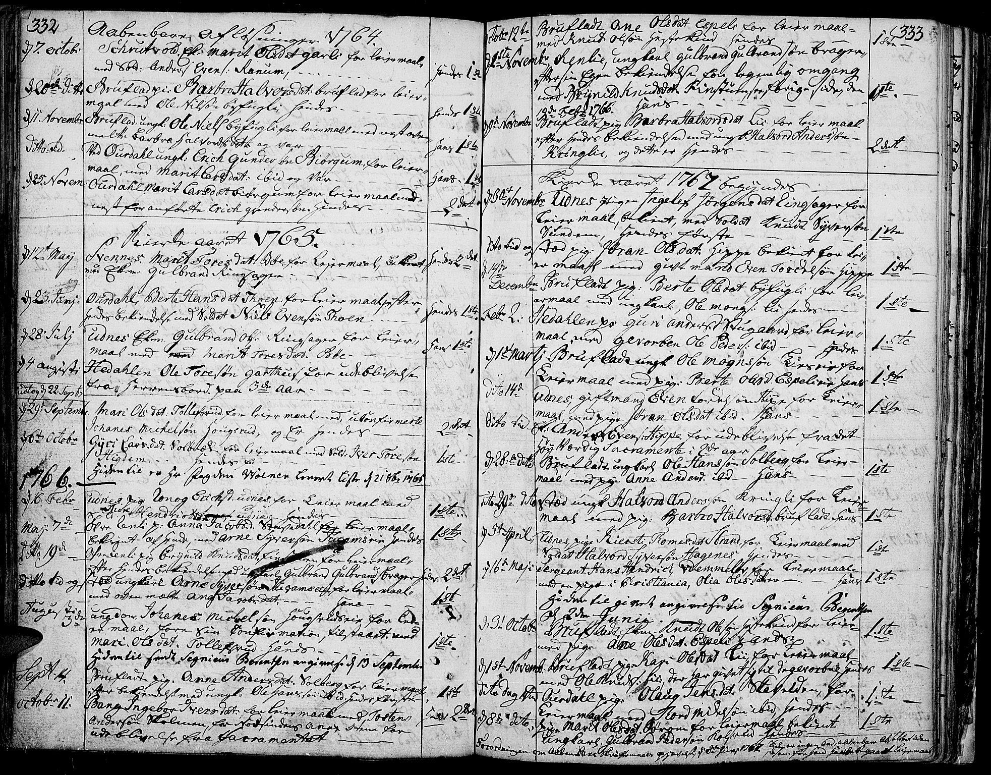 SAH, Aurdal prestekontor, Ministerialbok nr. 5, 1763-1781, s. 332-333