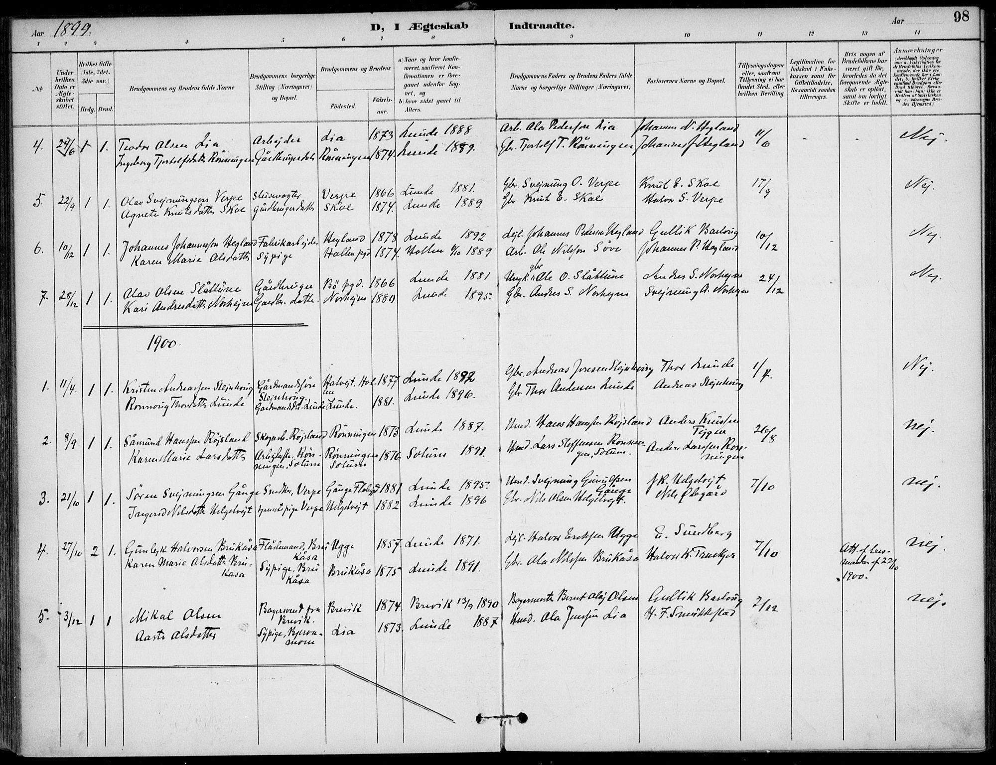 SAKO, Lunde kirkebøker, F/Fa/L0003: Ministerialbok nr. I 3, 1893-1902, s. 98