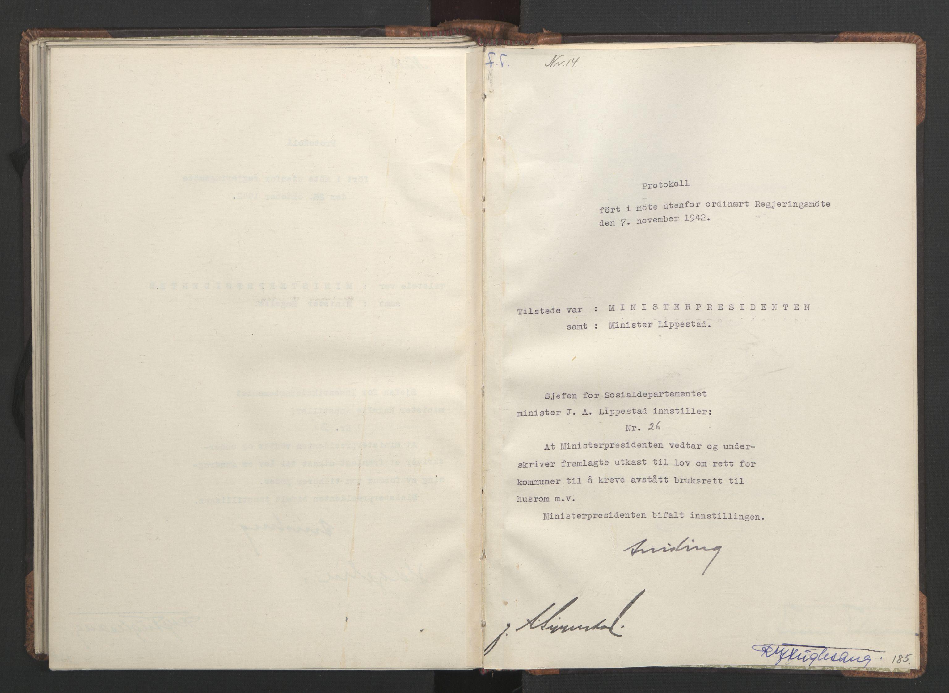 RA, NS-administrasjonen 1940-1945 (Statsrådsekretariatet, de kommisariske statsråder mm), D/Da/L0001: Beslutninger og tillegg (1-952 og 1-32), 1942, s. 184b-185a
