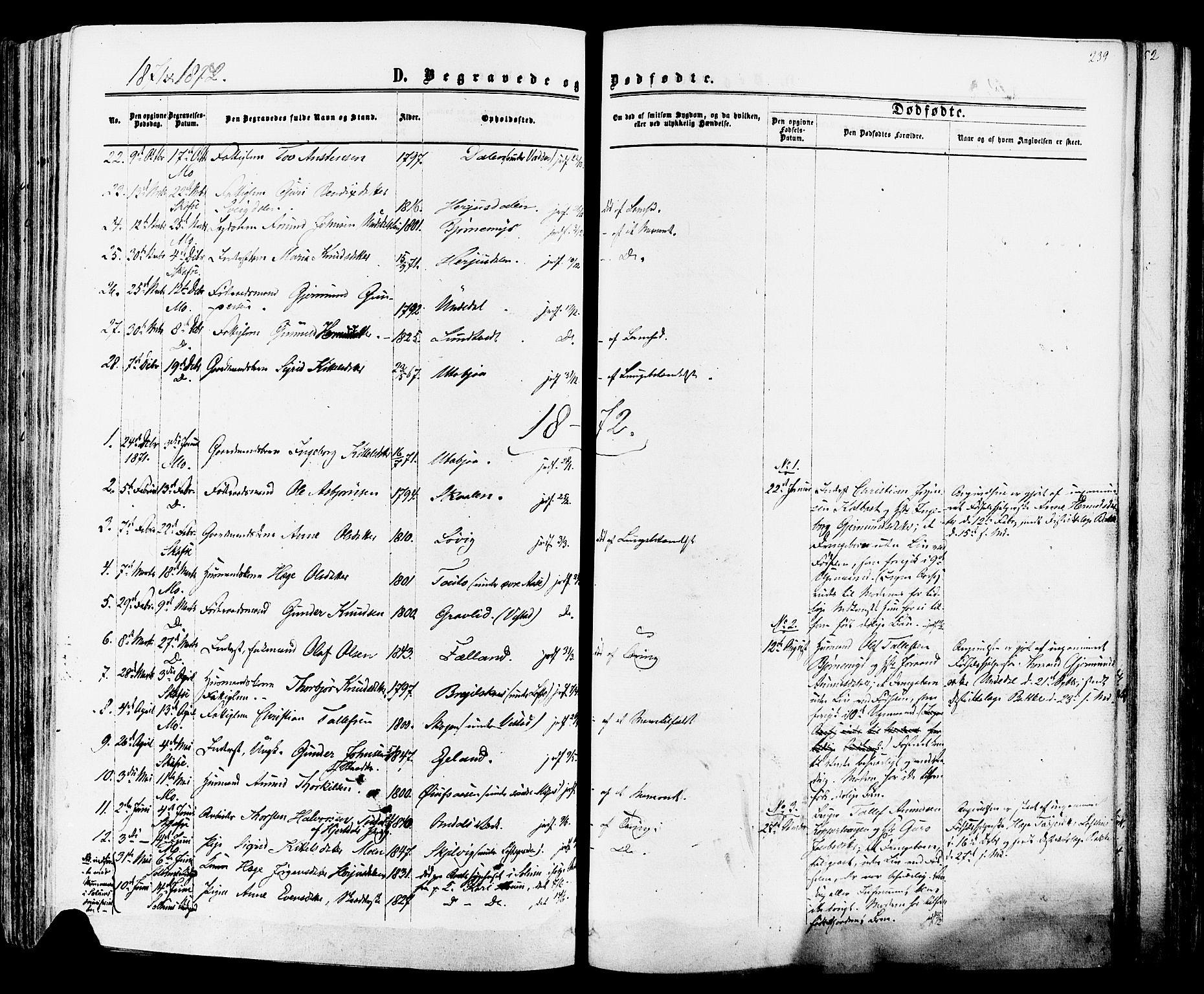 SAKO, Mo kirkebøker, F/Fa/L0006: Ministerialbok nr. I 6, 1865-1885, s. 239