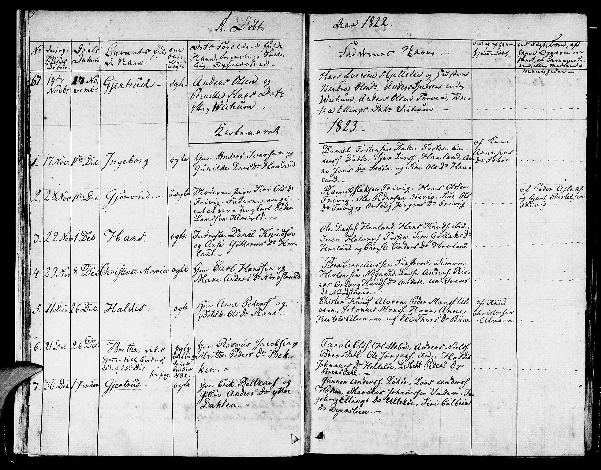SAB, Lavik sokneprestembete, Ministerialbok nr. A 2I, 1821-1842, s. 9