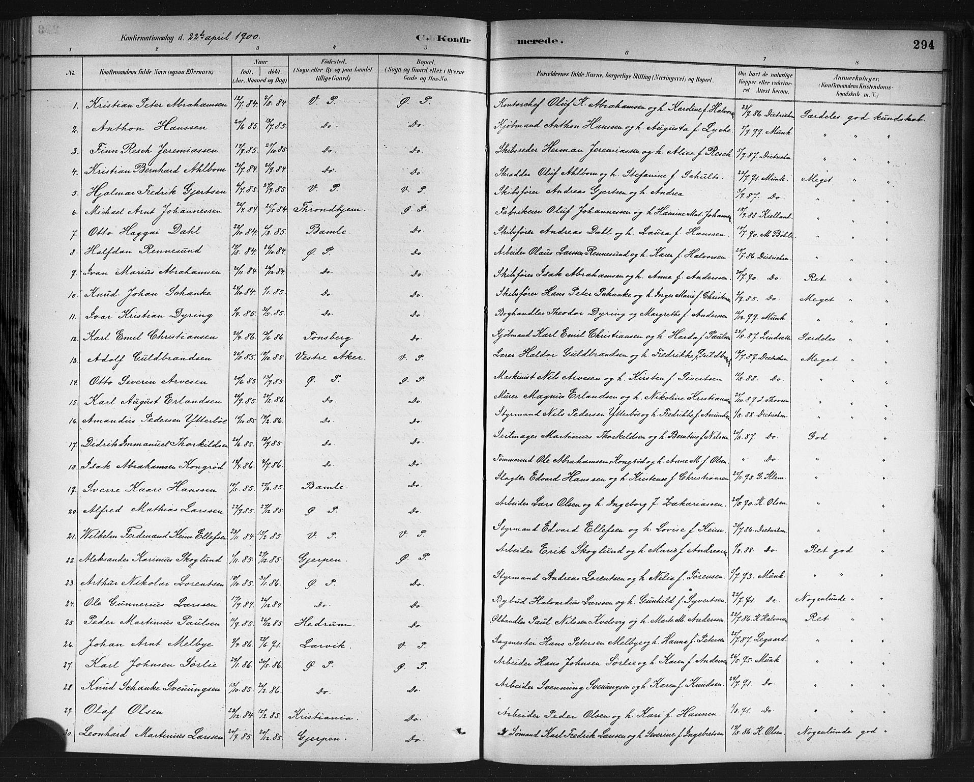 SAKO, Porsgrunn kirkebøker , G/Gb/L0005: Klokkerbok nr. II 5, 1883-1915, s. 294