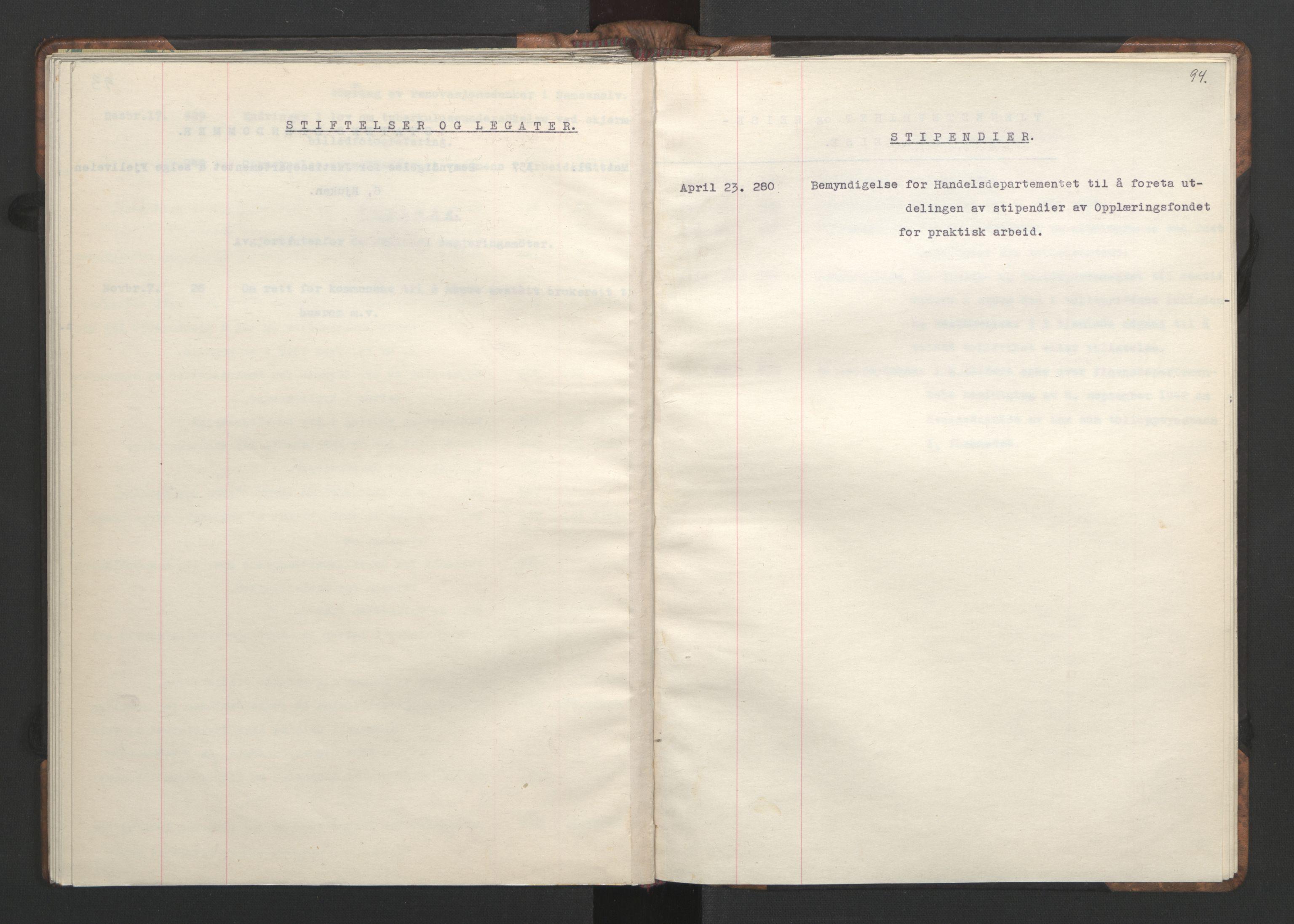 RA, NS-administrasjonen 1940-1945 (Statsrådsekretariatet, de kommisariske statsråder mm), D/Da/L0002: Register (RA j.nr. 985/1943, tilgangsnr. 17/1943), 1942, s. 93b-94a