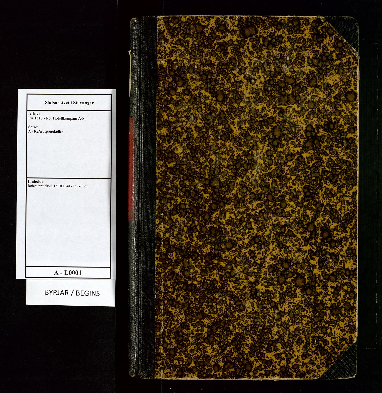 SAST, PA 1516 - Nor Hotellkompani A/S, A/L0001: Referatprotokoll, 1948-1855, s. 1