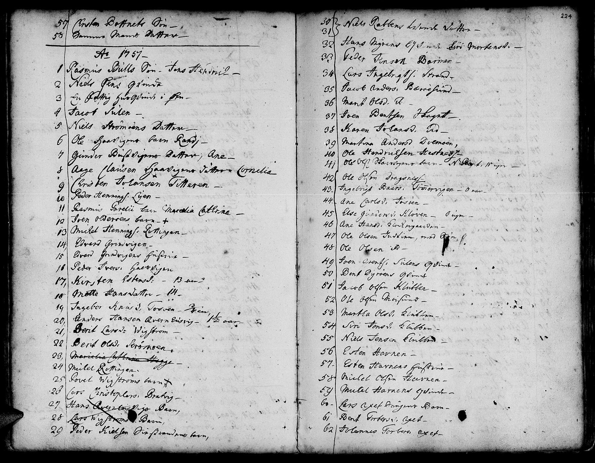 SAT, Ministerialprotokoller, klokkerbøker og fødselsregistre - Sør-Trøndelag, 634/L0525: Ministerialbok nr. 634A01, 1736-1775, s. 224