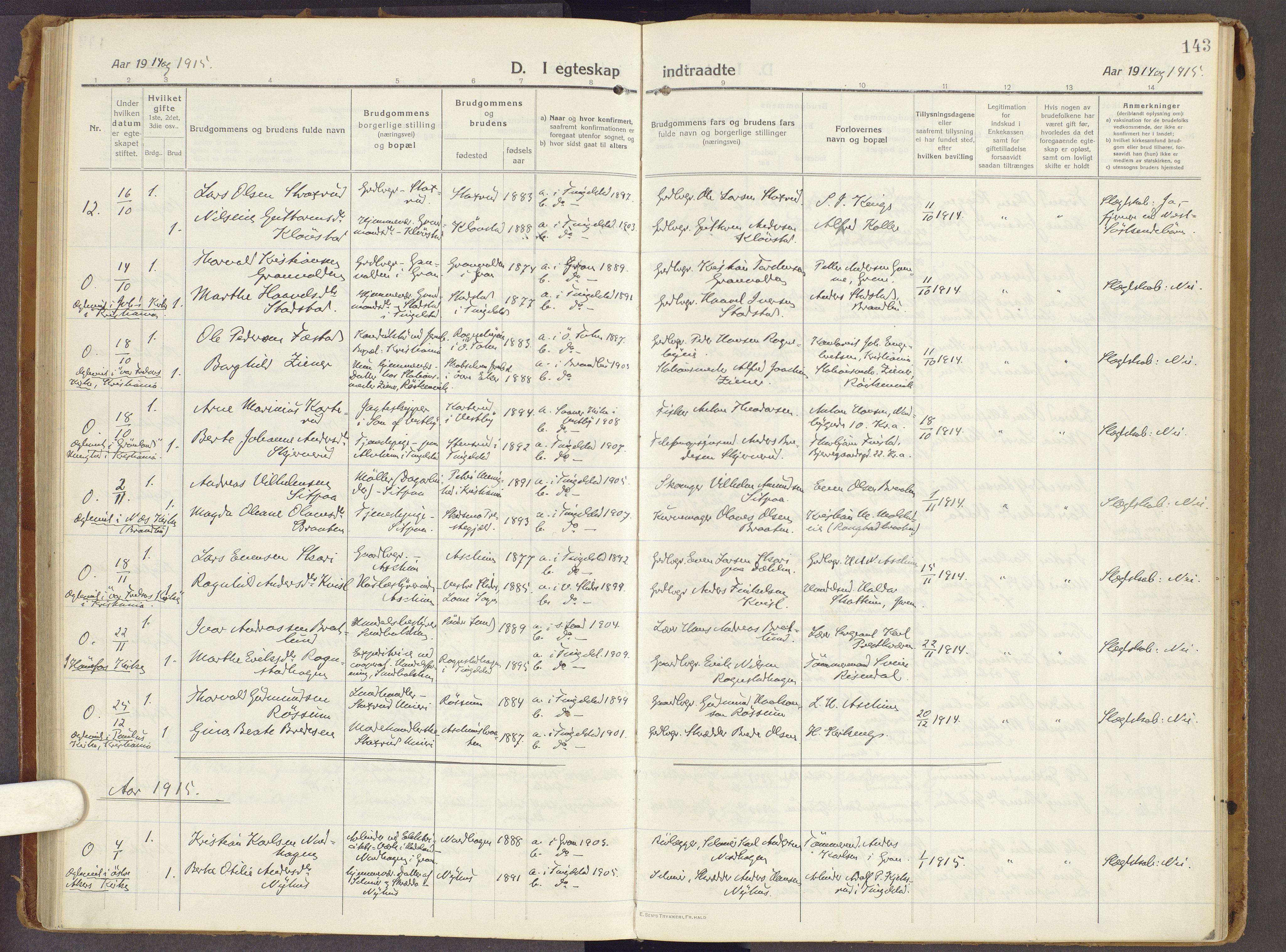 SAH, Brandbu prestekontor, Ministerialbok nr. 3, 1914-1928, s. 143