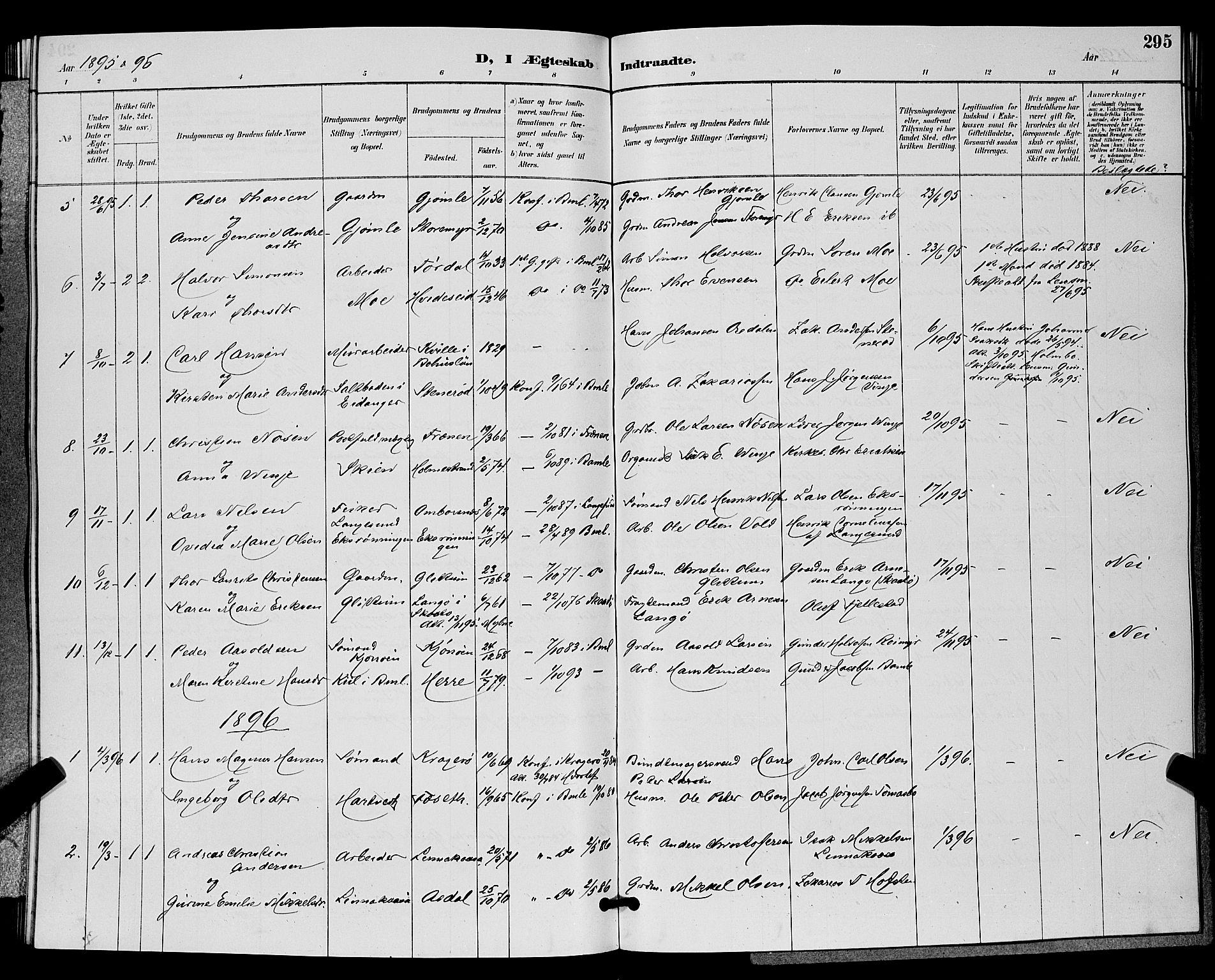 SAKO, Bamble kirkebøker, G/Ga/L0009: Klokkerbok nr. I 9, 1888-1900, s. 295
