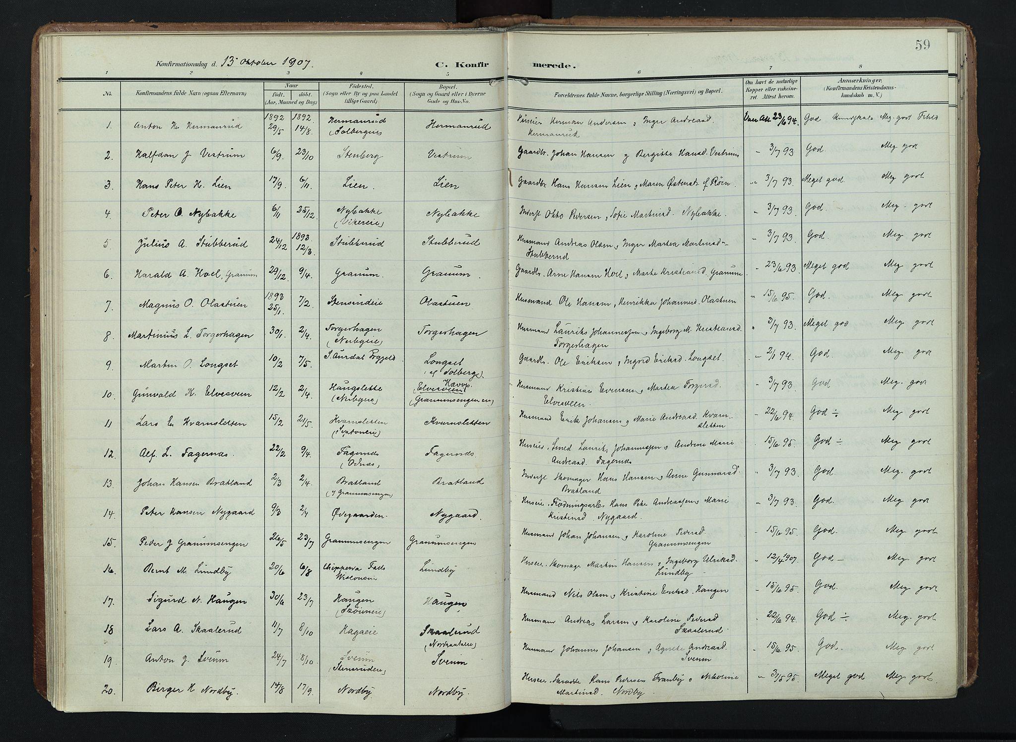SAH, Søndre Land prestekontor, K/L0005: Ministerialbok nr. 5, 1905-1914, s. 59