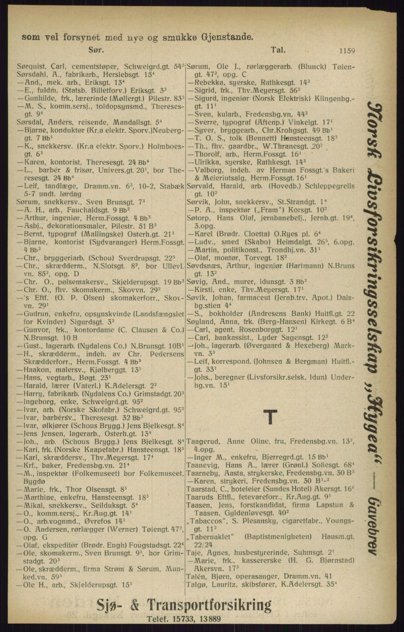 RA, Kristiania adressebok (publikasjon)*, 1916, s. 1159