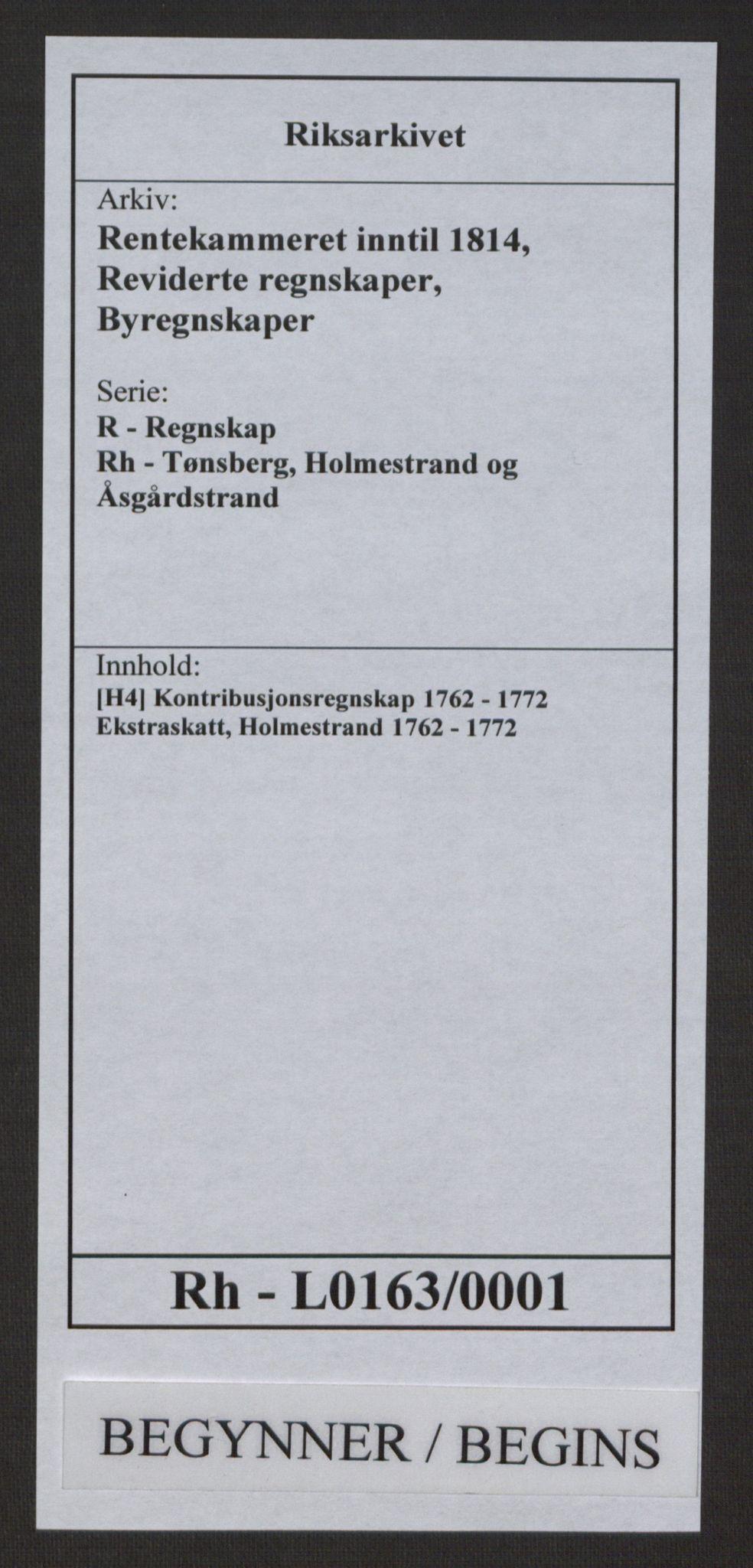 RA, Rentekammeret inntil 1814, Reviderte regnskaper, Byregnskaper, R/Rh/L0163: [H4] Kontribusjonsregnskap, 1762-1772, s. 1