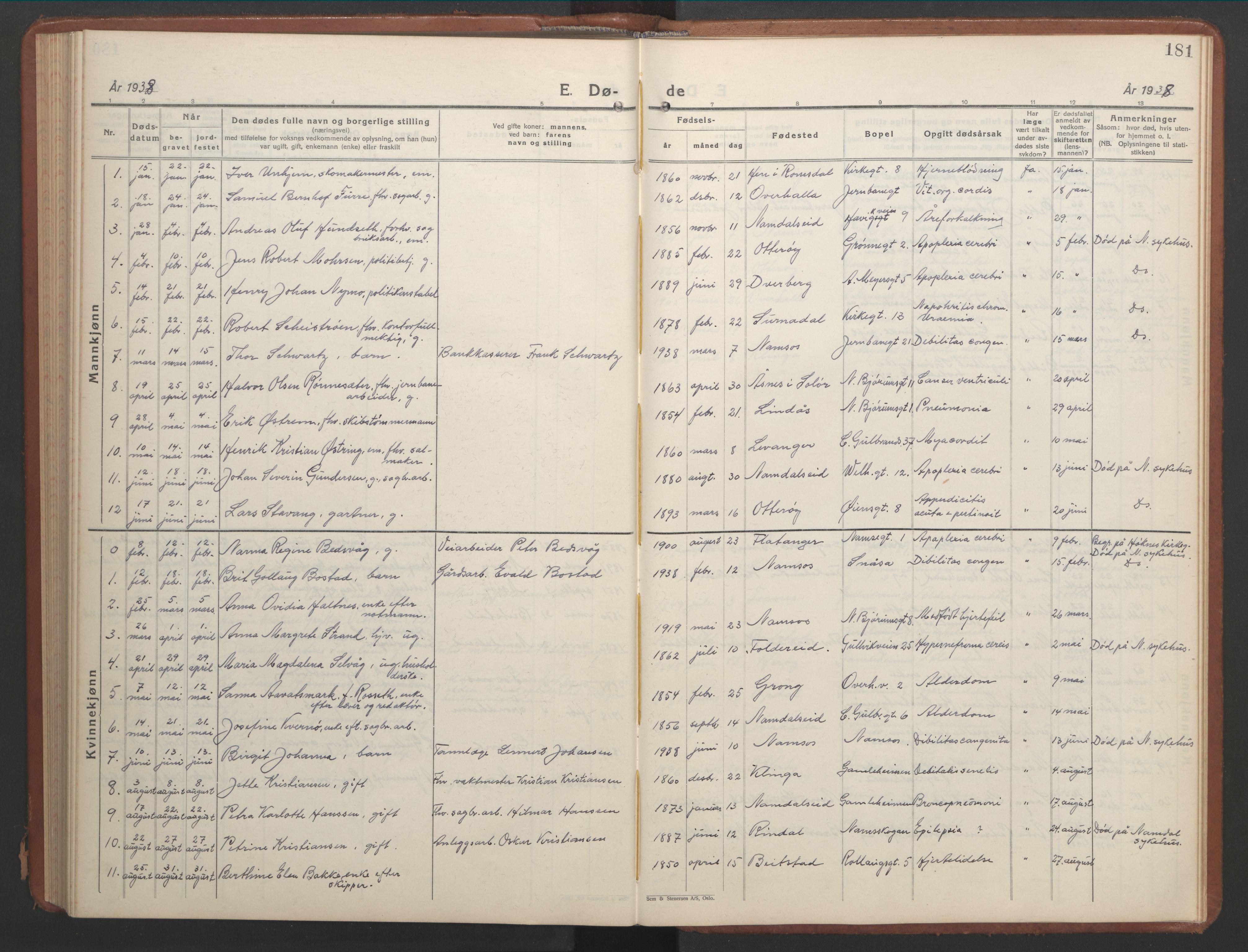 SAT, Ministerialprotokoller, klokkerbøker og fødselsregistre - Nord-Trøndelag, 768/L0583: Klokkerbok nr. 768C01, 1928-1953, s. 181