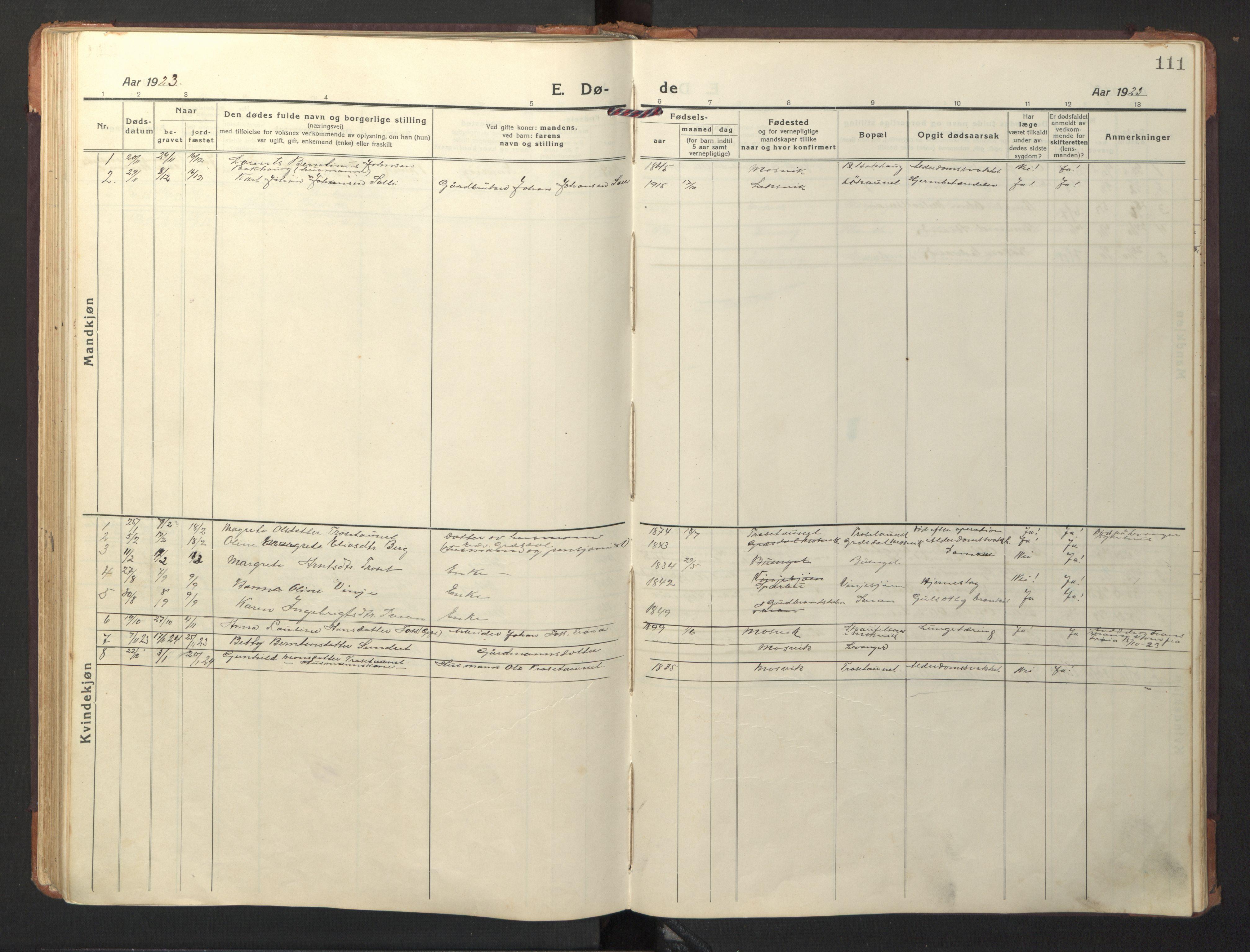 SAT, Ministerialprotokoller, klokkerbøker og fødselsregistre - Nord-Trøndelag, 733/L0328: Klokkerbok nr. 733C03, 1919-1966, s. 111