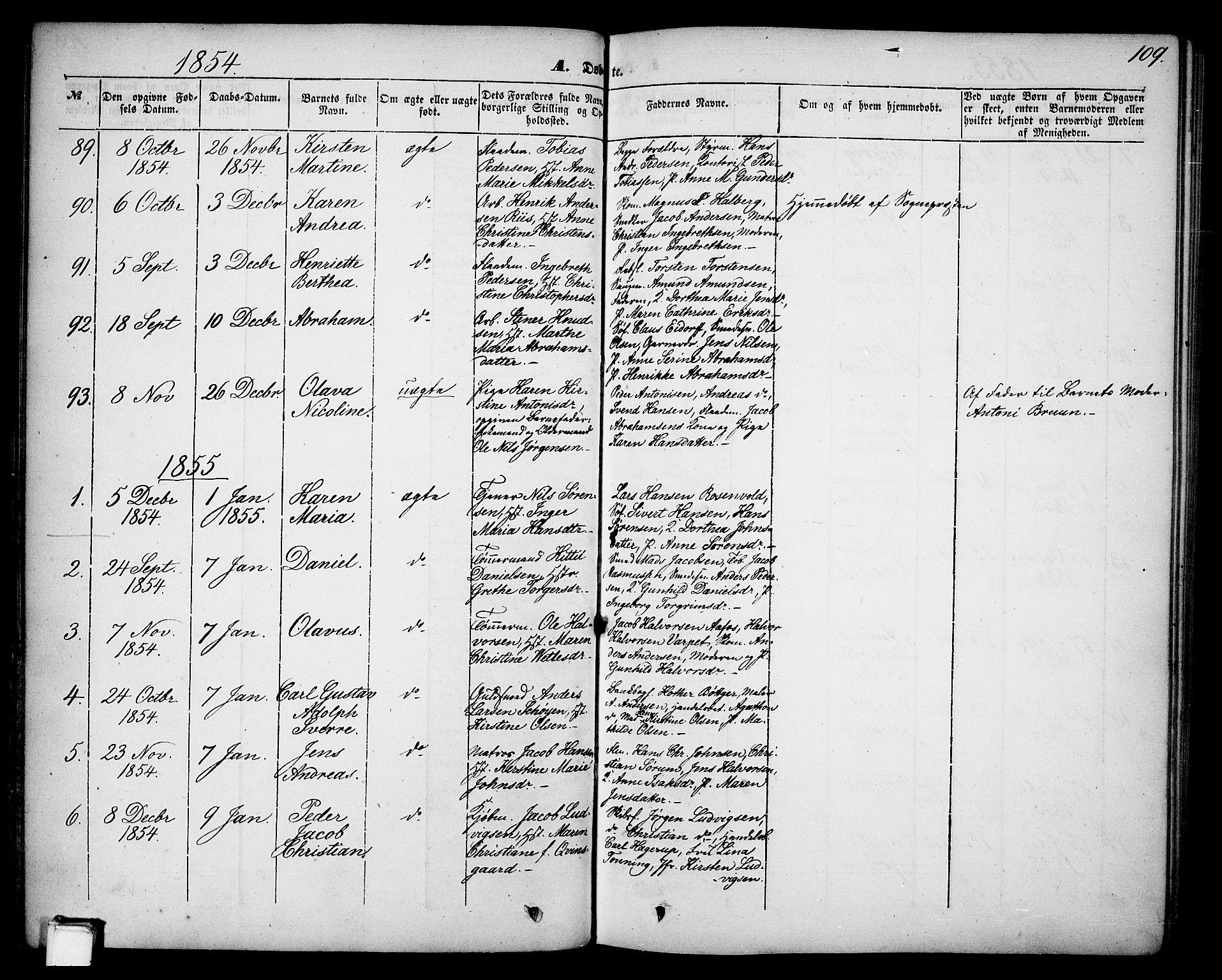 SAKO, Skien kirkebøker, G/Ga/L0004: Klokkerbok nr. 4, 1843-1867, s. 109
