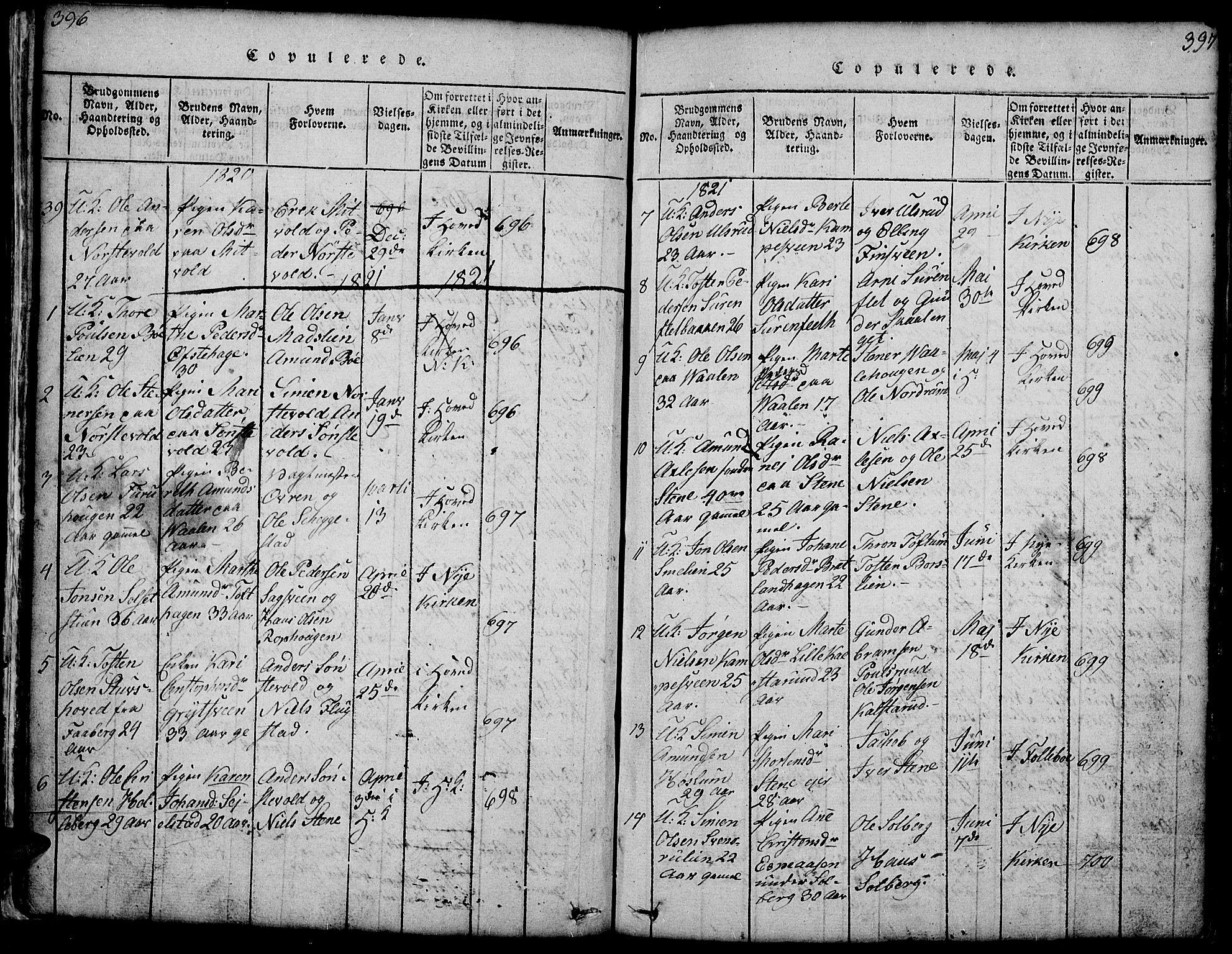 SAH, Gausdal prestekontor, Klokkerbok nr. 1, 1817-1848, s. 396-397