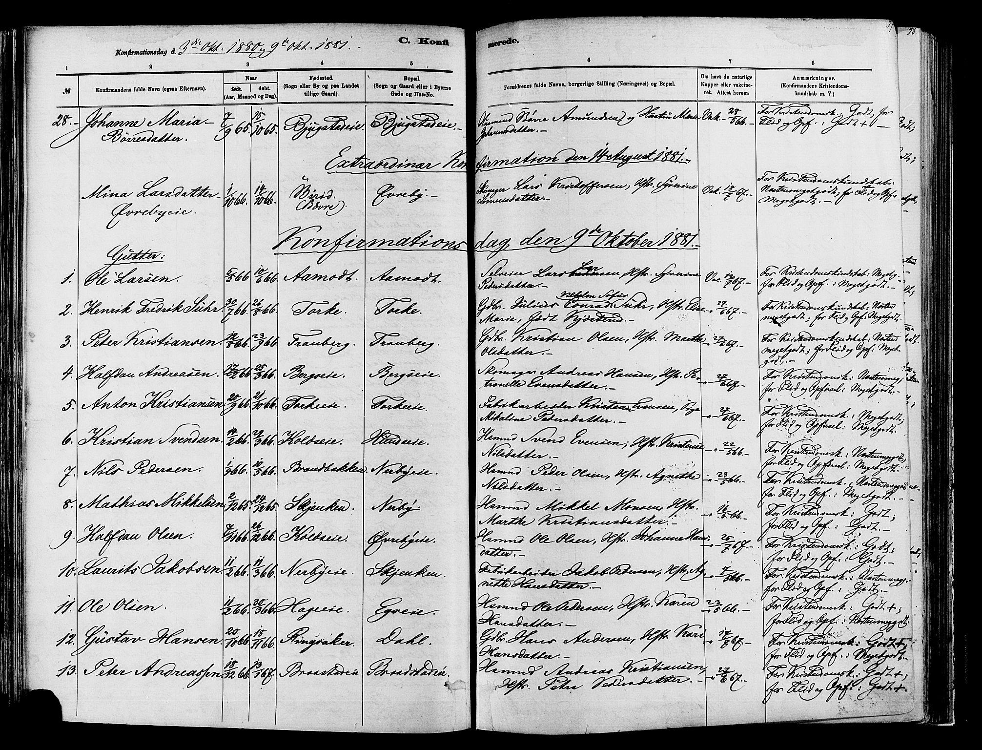 SAH, Vardal prestekontor, H/Ha/Haa/L0009: Ministerialbok nr. 9, 1878-1892, s. 97