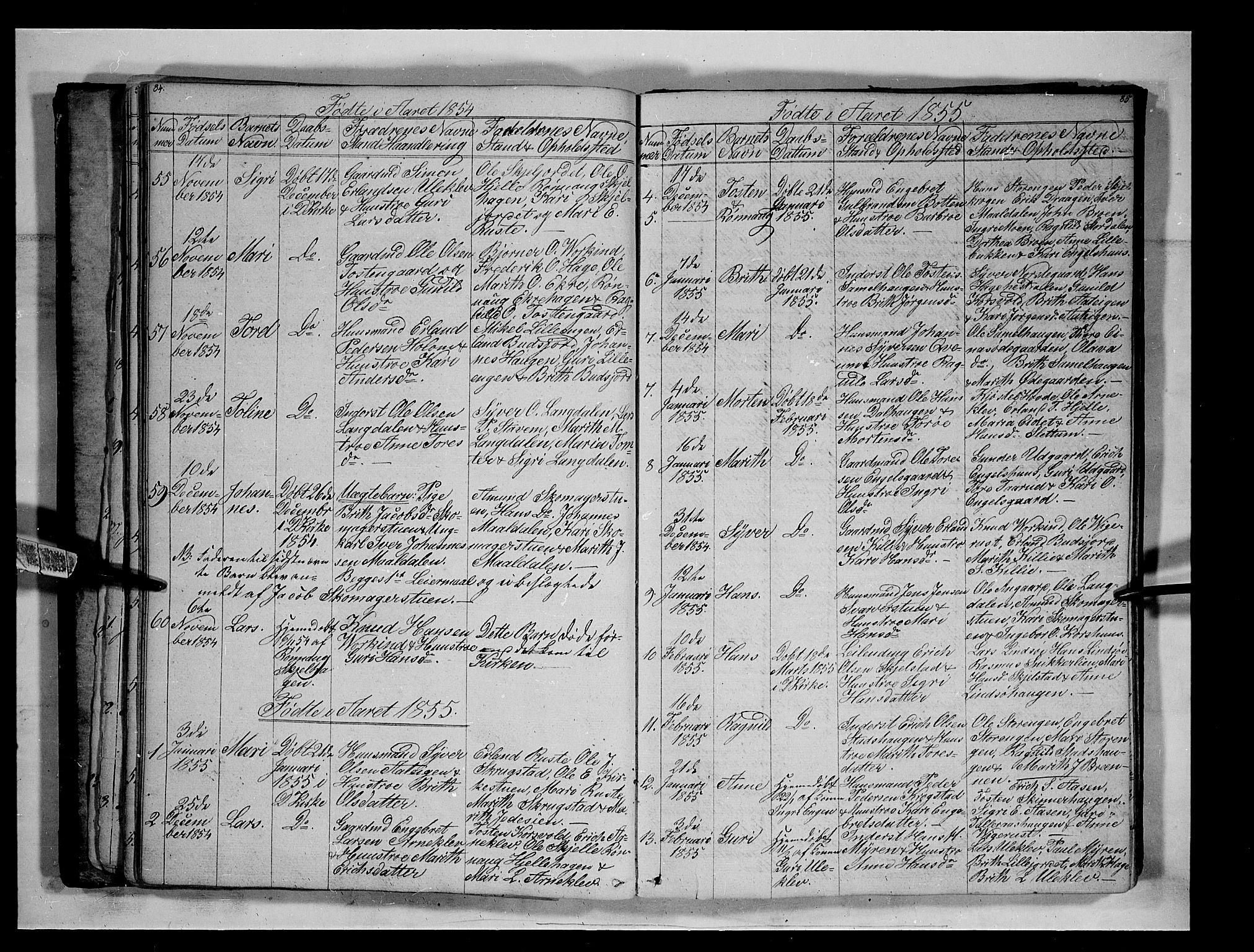SAH, Lesja prestekontor, Klokkerbok nr. 3, 1842-1862, s. 84-85