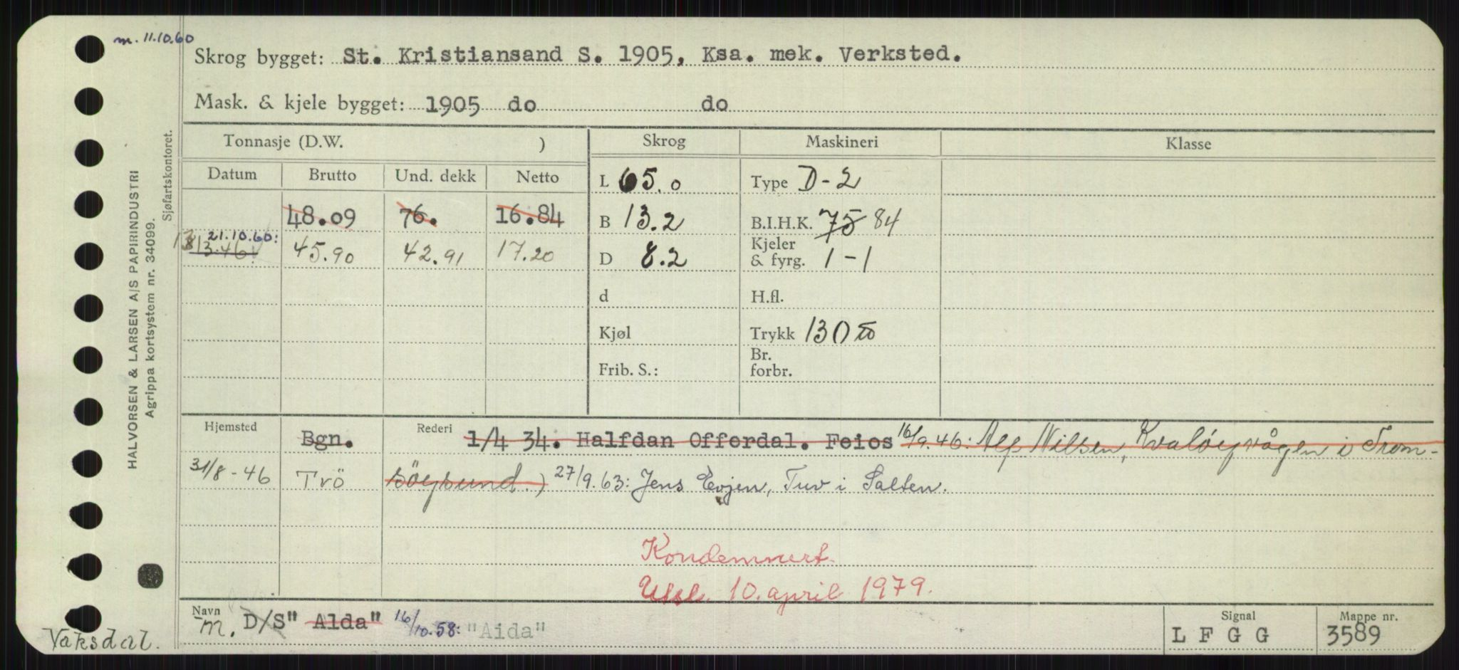 RA, Sjøfartsdirektoratet med forløpere, Skipsmålingen, H/Hd/L0001: Fartøy, A-Anv, s. 147
