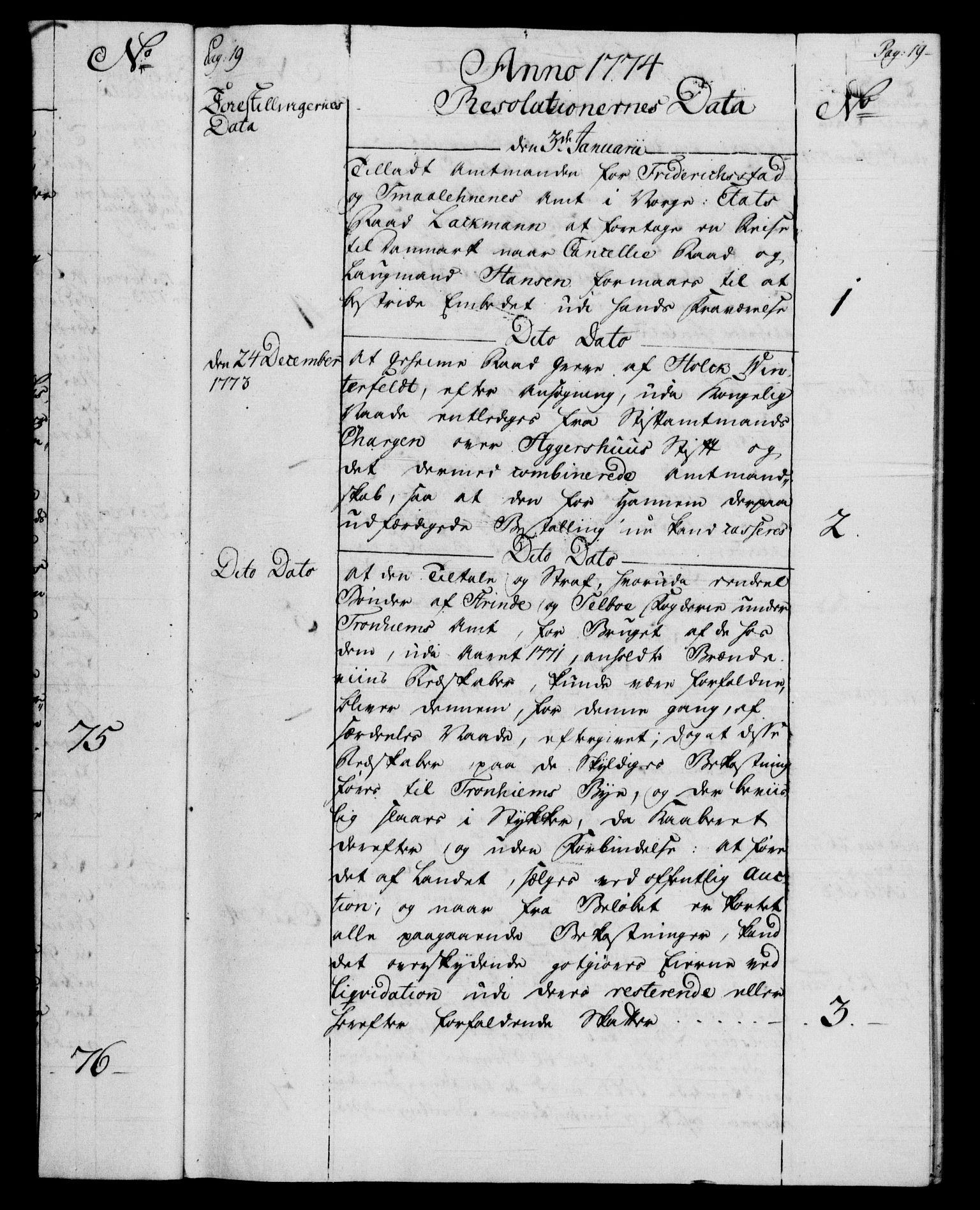 RA, Rentekammeret, Kammerkanselliet, G/Gf/Gfb/L0009: Register til norske relasjons- og resolusjonsprotokoller (merket RK 52.104), 1773-1780, s. 19
