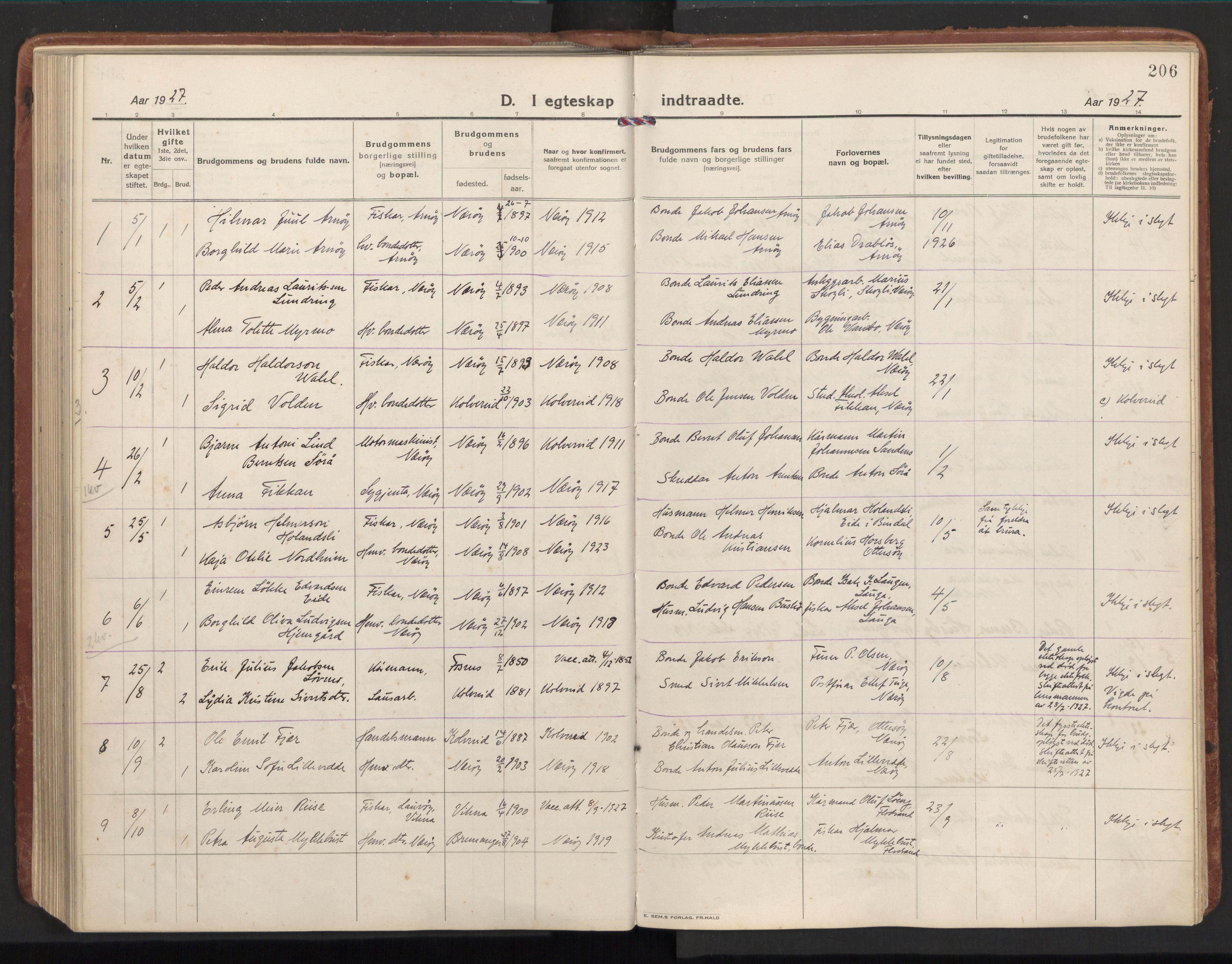 SAT, Ministerialprotokoller, klokkerbøker og fødselsregistre - Nord-Trøndelag, 784/L0678: Ministerialbok nr. 784A13, 1921-1938, s. 206