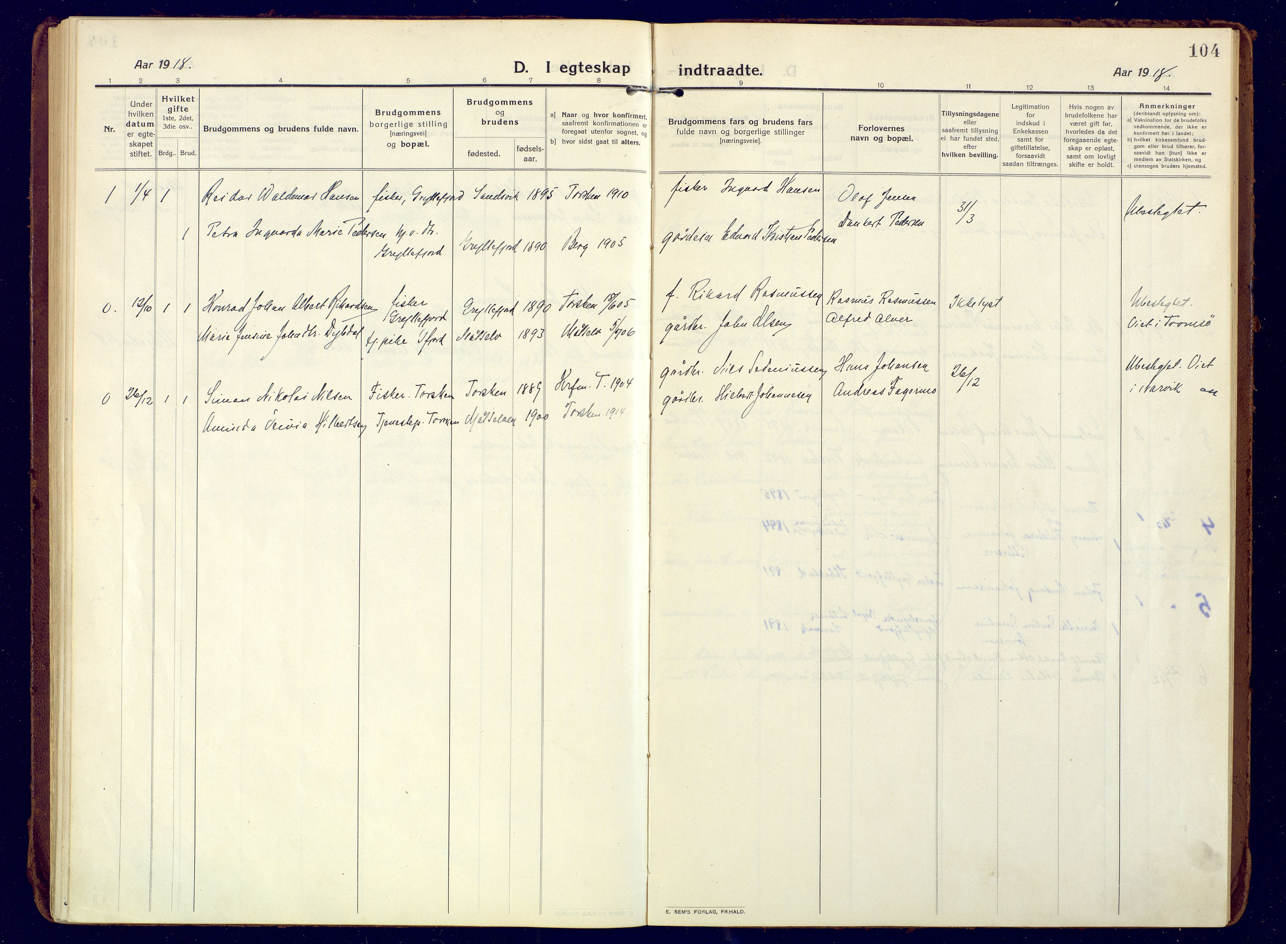 SATØ, Mefjord/Berg sokneprestkontor, G/Ga/Gaa: Ministerialbok nr. 10, 1916-1928, s. 104