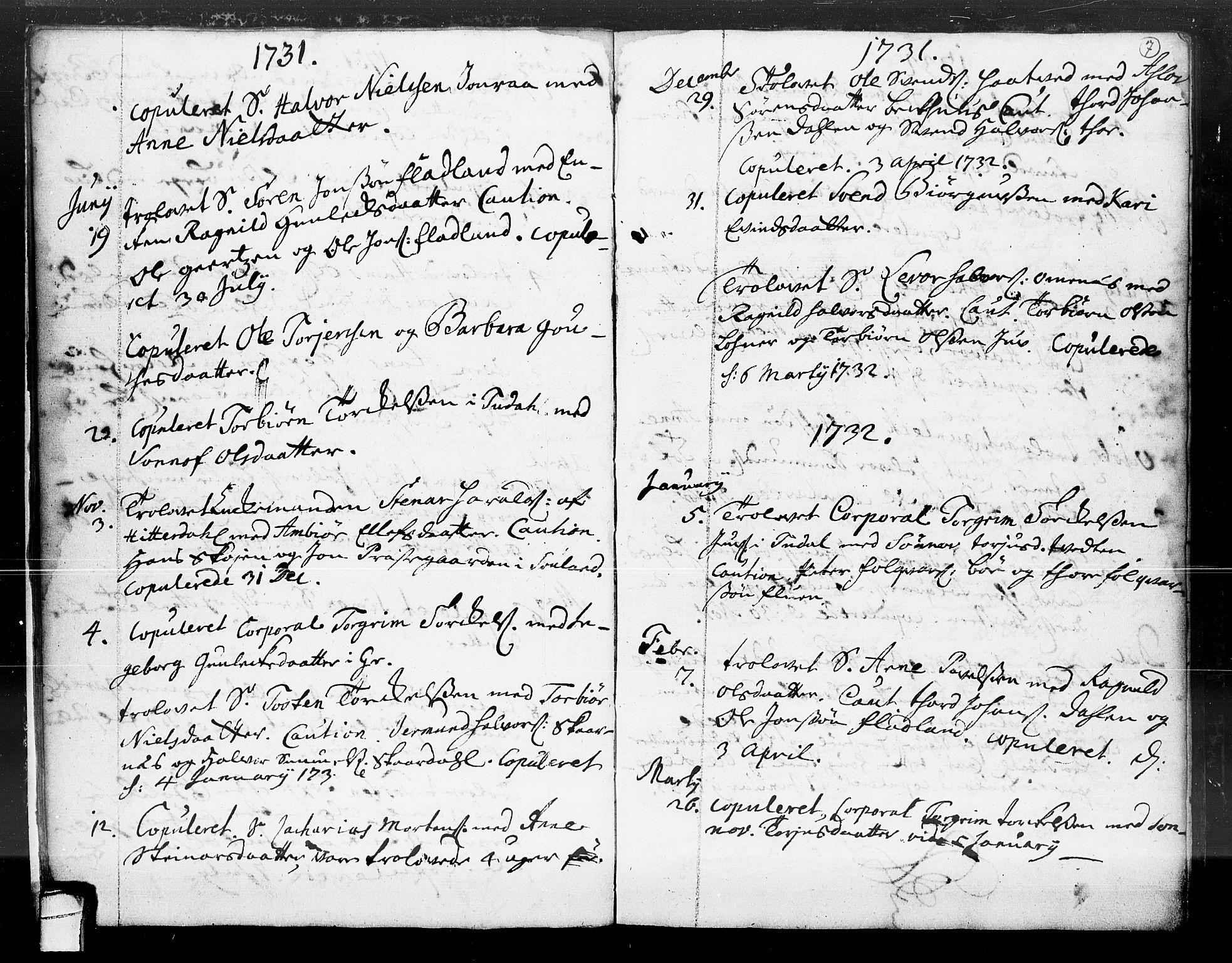 SAKO, Hjartdal kirkebøker, F/Fa/L0004: Ministerialbok nr. I 4, 1727-1795, s. 7