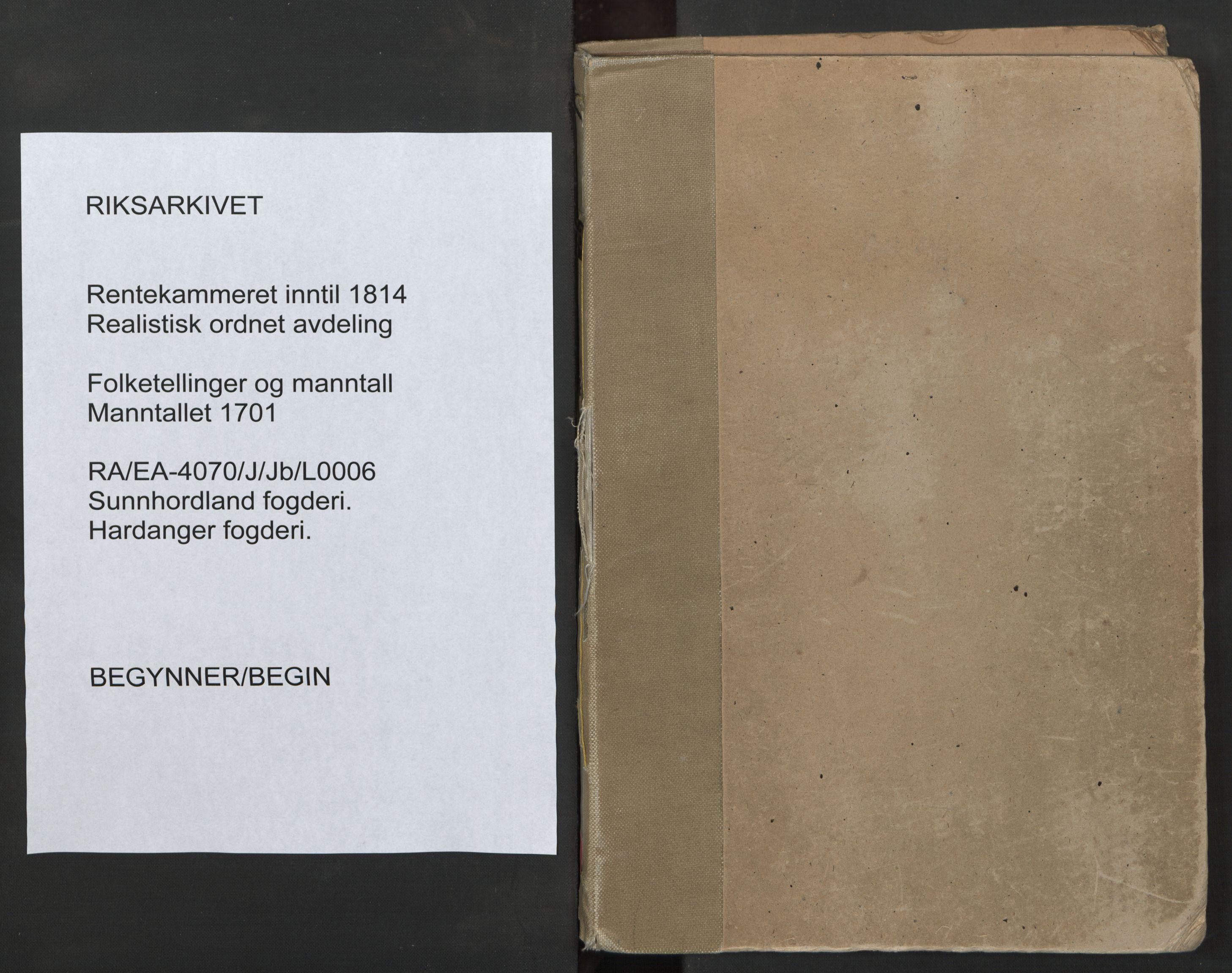 RA, Manntallet 1701, nr. 6: Sunnhordland fogderi og Hardanger fogderi, 1701