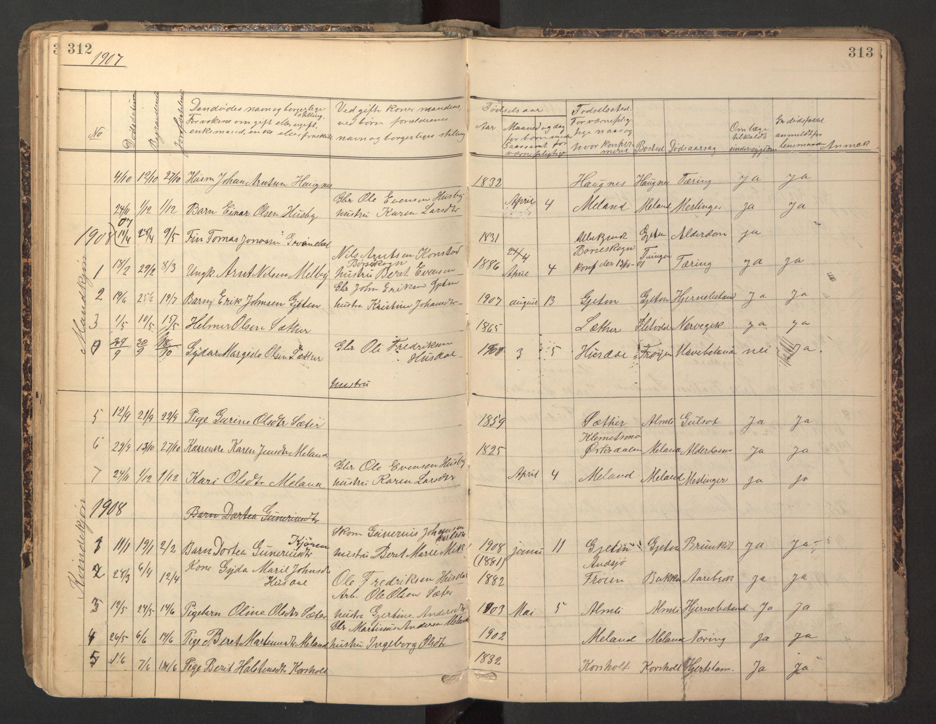 SAT, Ministerialprotokoller, klokkerbøker og fødselsregistre - Sør-Trøndelag, 670/L0837: Klokkerbok nr. 670C01, 1905-1946, s. 312-313