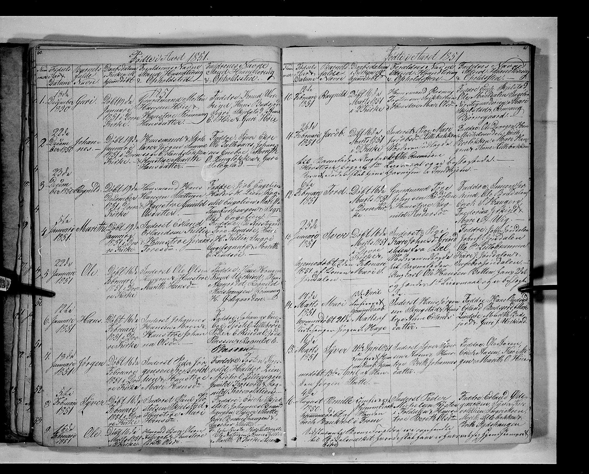 SAH, Lesja prestekontor, Klokkerbok nr. 3, 1842-1862, s. 60-61