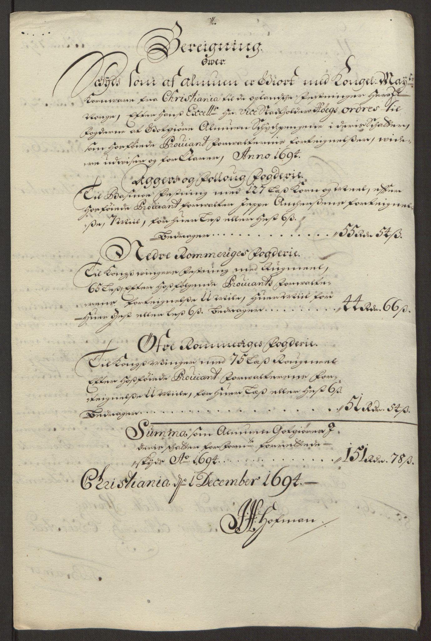 RA, Rentekammeret inntil 1814, Reviderte regnskaper, Fogderegnskap, R12/L0707: Fogderegnskap Øvre Romerike, 1695, s. 248