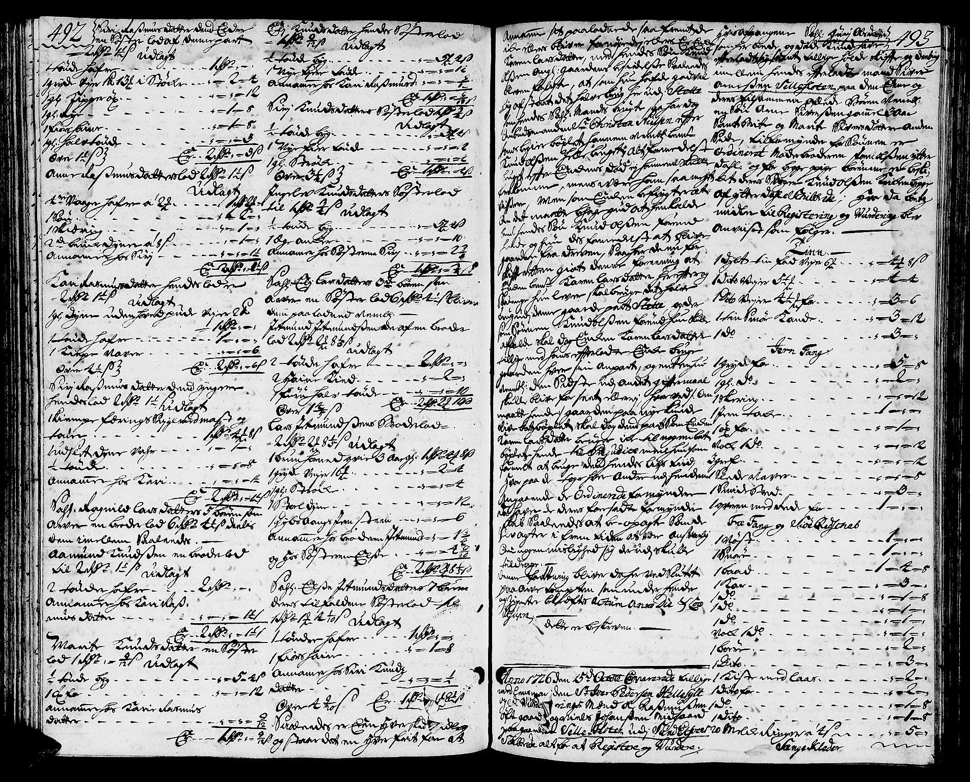 SAT, Sunnmøre sorenskriveri, 3/3A/L0009: Skifteprotokoll 07, 1725-1728, s. 492-493