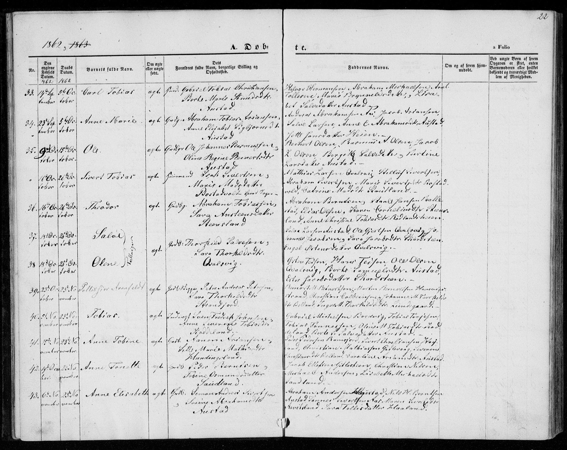 SAK, Lyngdal sokneprestkontor, F/Fa/Faa/L0002: Ministerialbok nr. A 2, 1858-1870, s. 22
