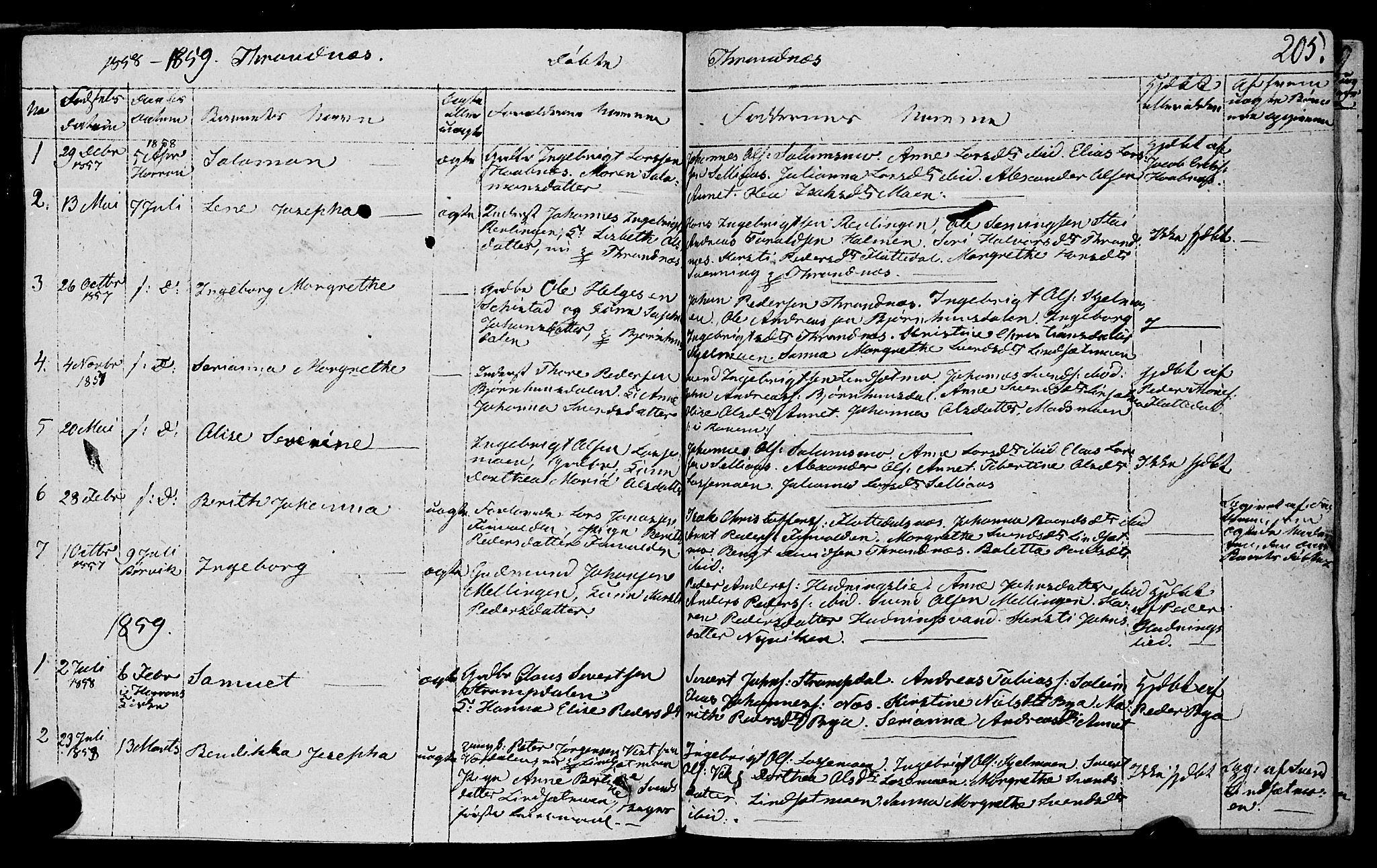SAT, Ministerialprotokoller, klokkerbøker og fødselsregistre - Nord-Trøndelag, 762/L0538: Ministerialbok nr. 762A02 /2, 1833-1879, s. 205