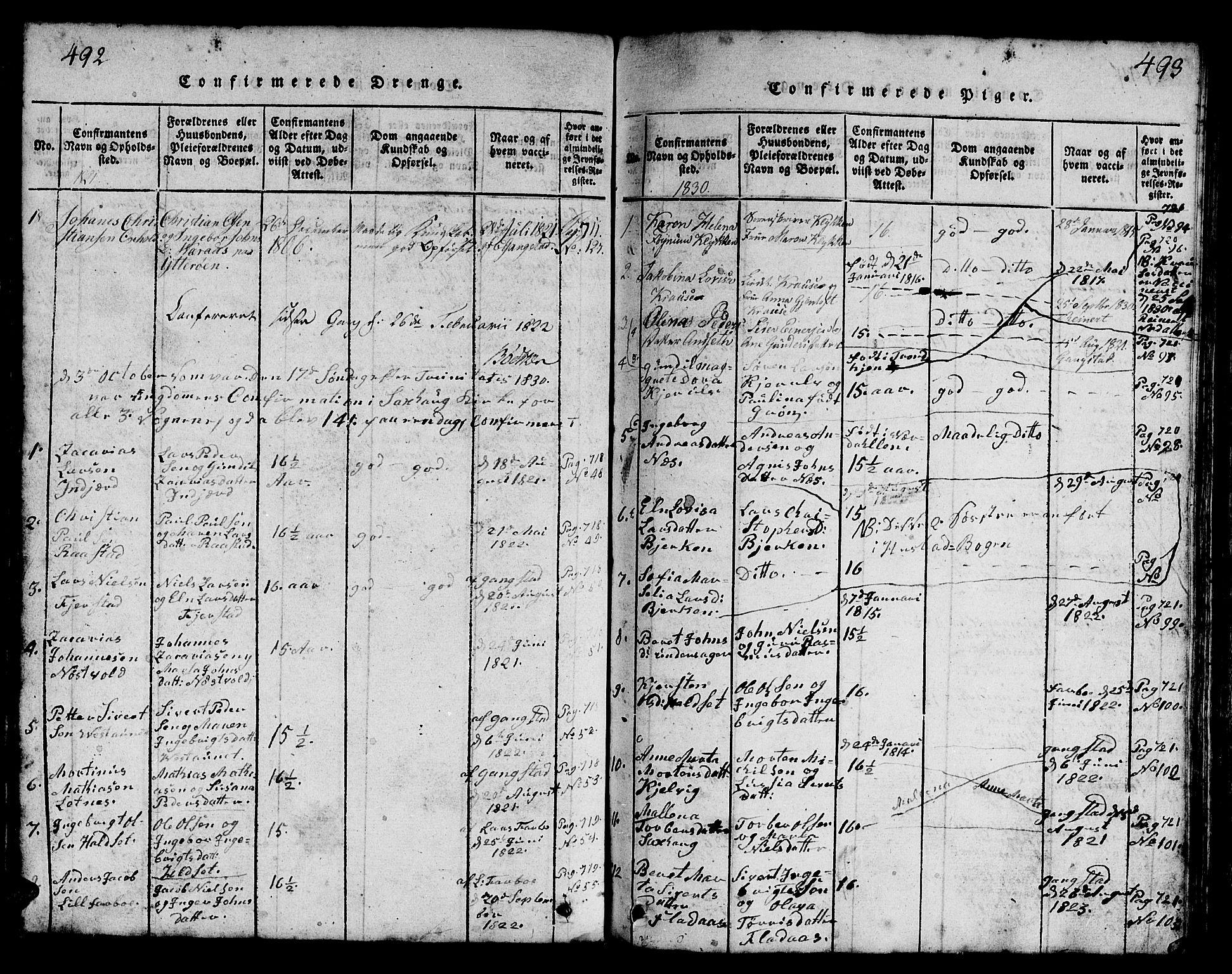 SAT, Ministerialprotokoller, klokkerbøker og fødselsregistre - Nord-Trøndelag, 730/L0298: Klokkerbok nr. 730C01, 1816-1849, s. 492-493