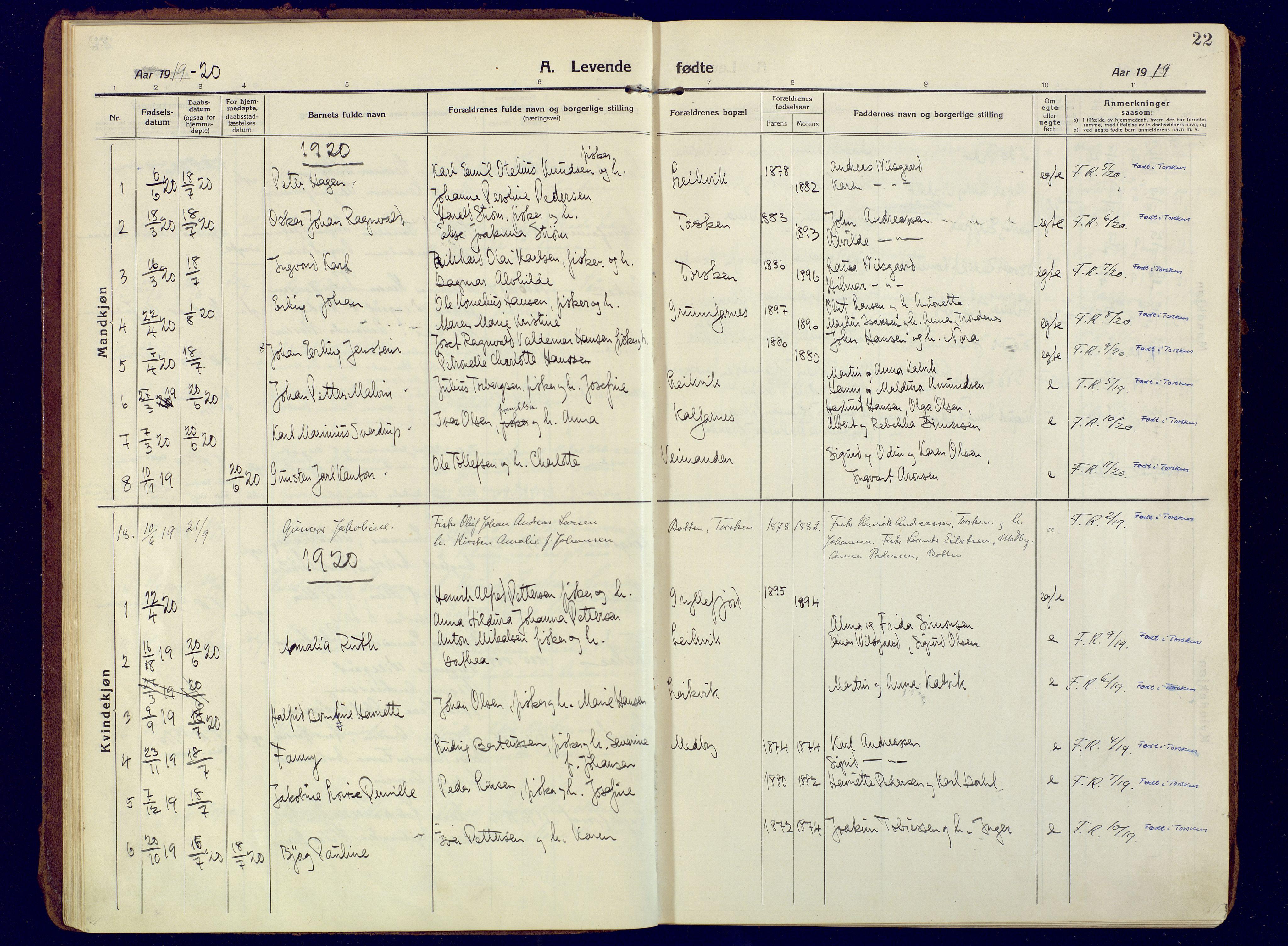 SATØ, Mefjord/Berg sokneprestkontor, G/Ga/Gaa: Ministerialbok nr. 10, 1916-1928, s. 22