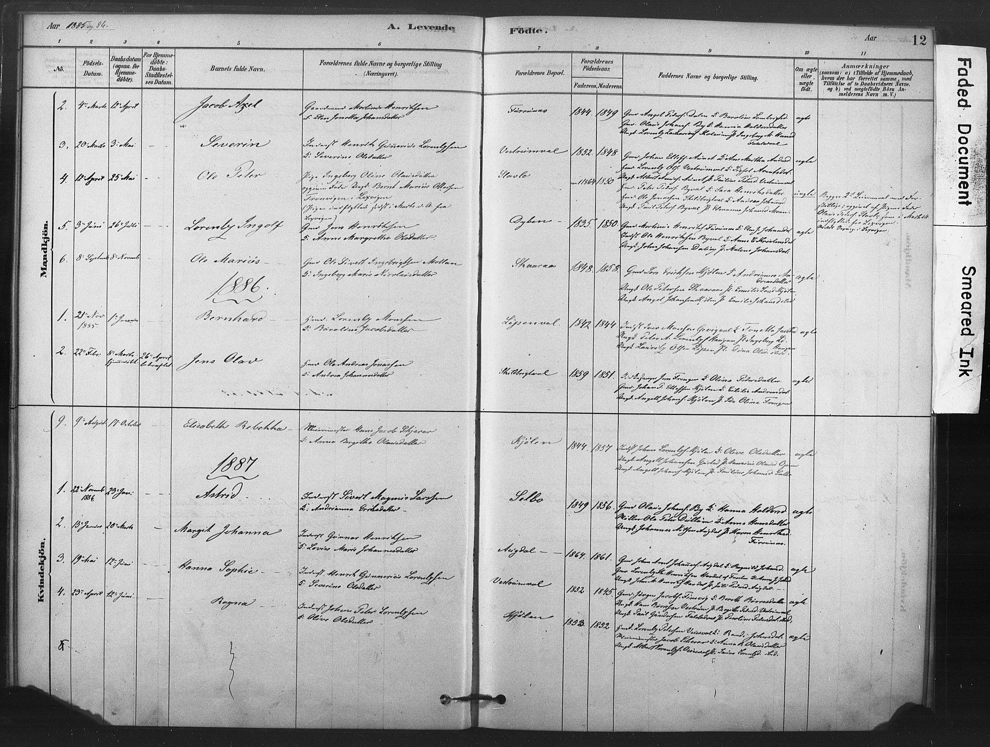 SAT, Ministerialprotokoller, klokkerbøker og fødselsregistre - Nord-Trøndelag, 719/L0178: Ministerialbok nr. 719A01, 1878-1900, s. 12