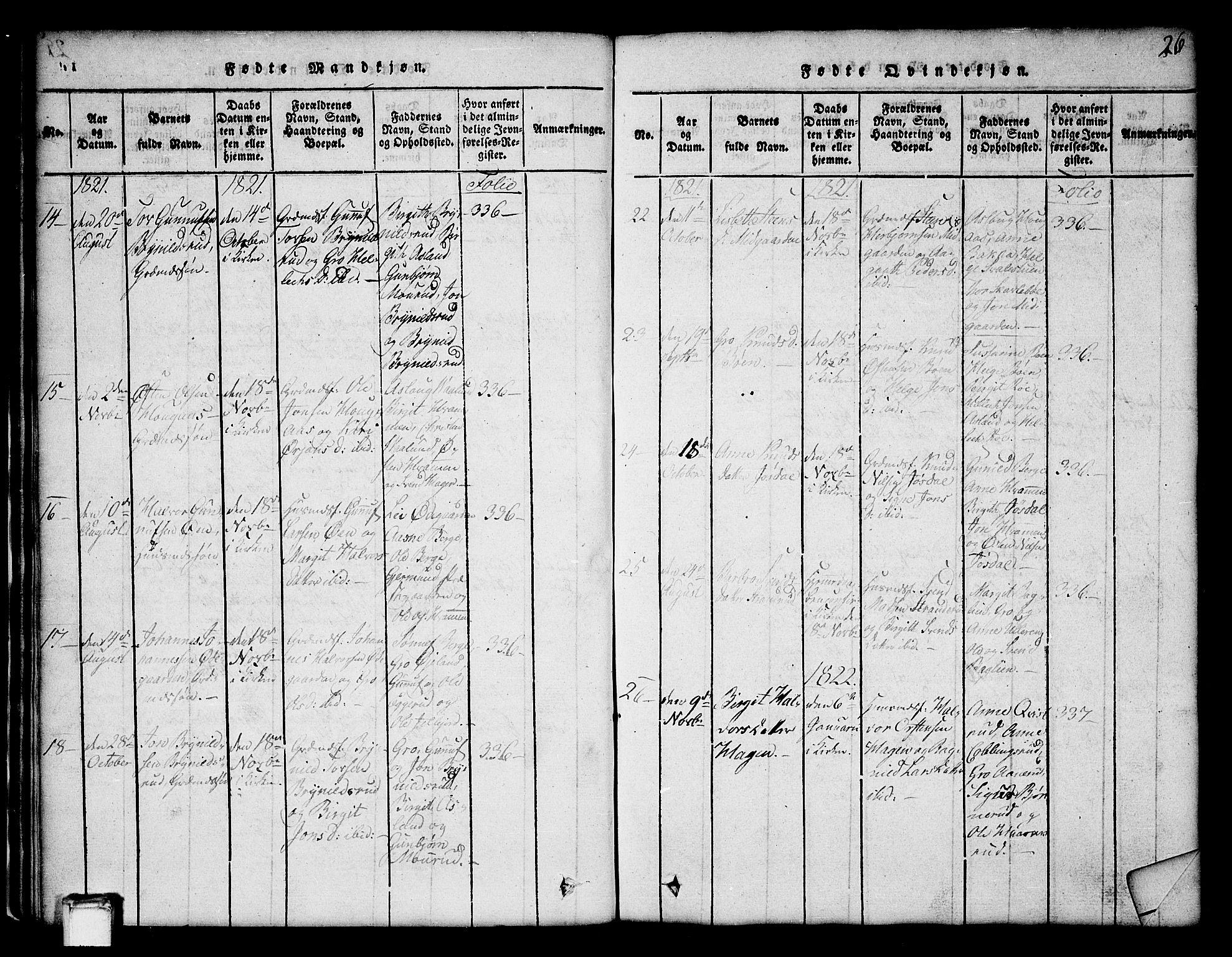 SAKO, Tinn kirkebøker, G/Ga/L0001: Klokkerbok nr. I 1, 1815-1850, s. 26